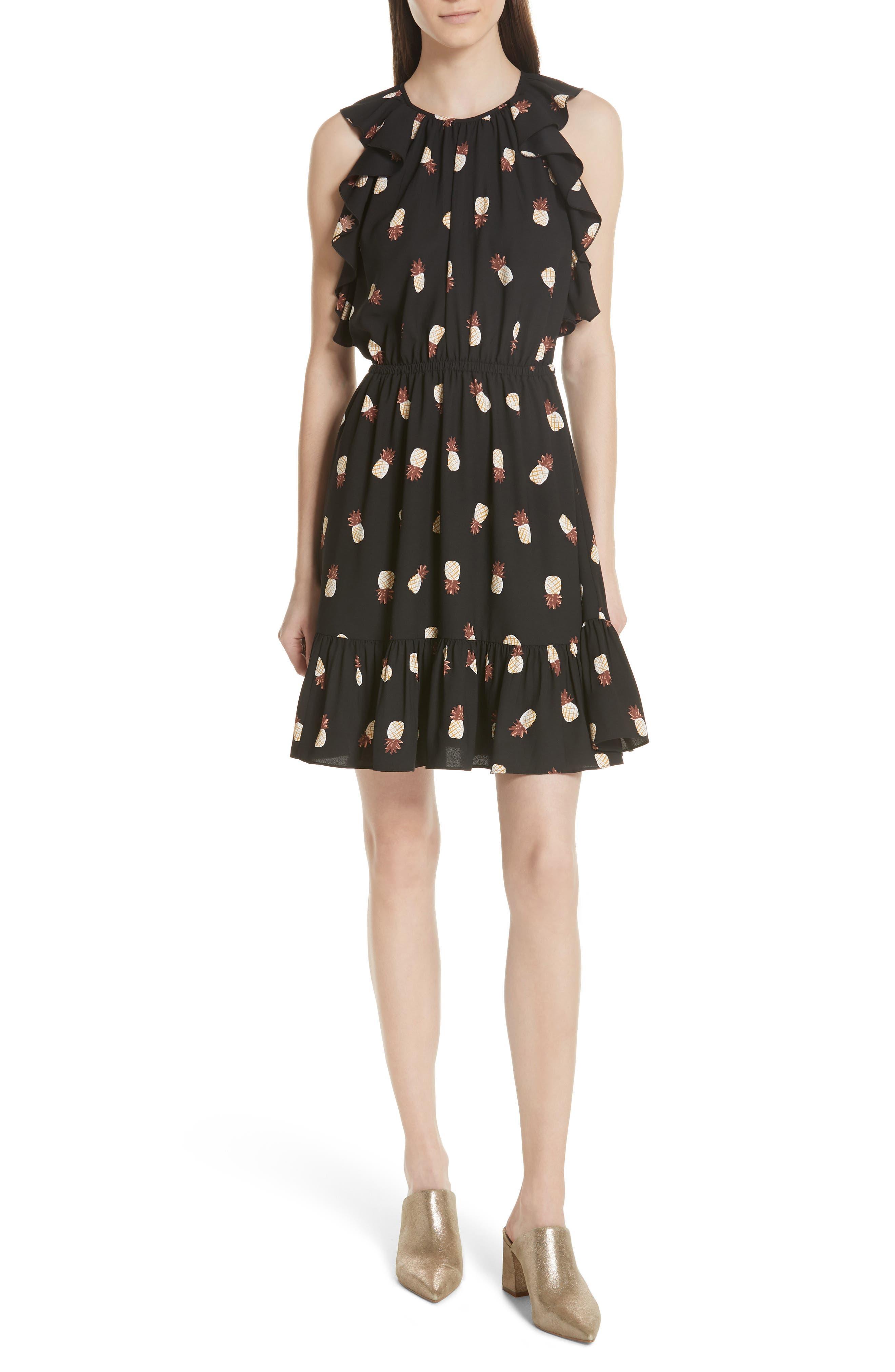pineapple ruffle dress,                         Main,                         color, Black