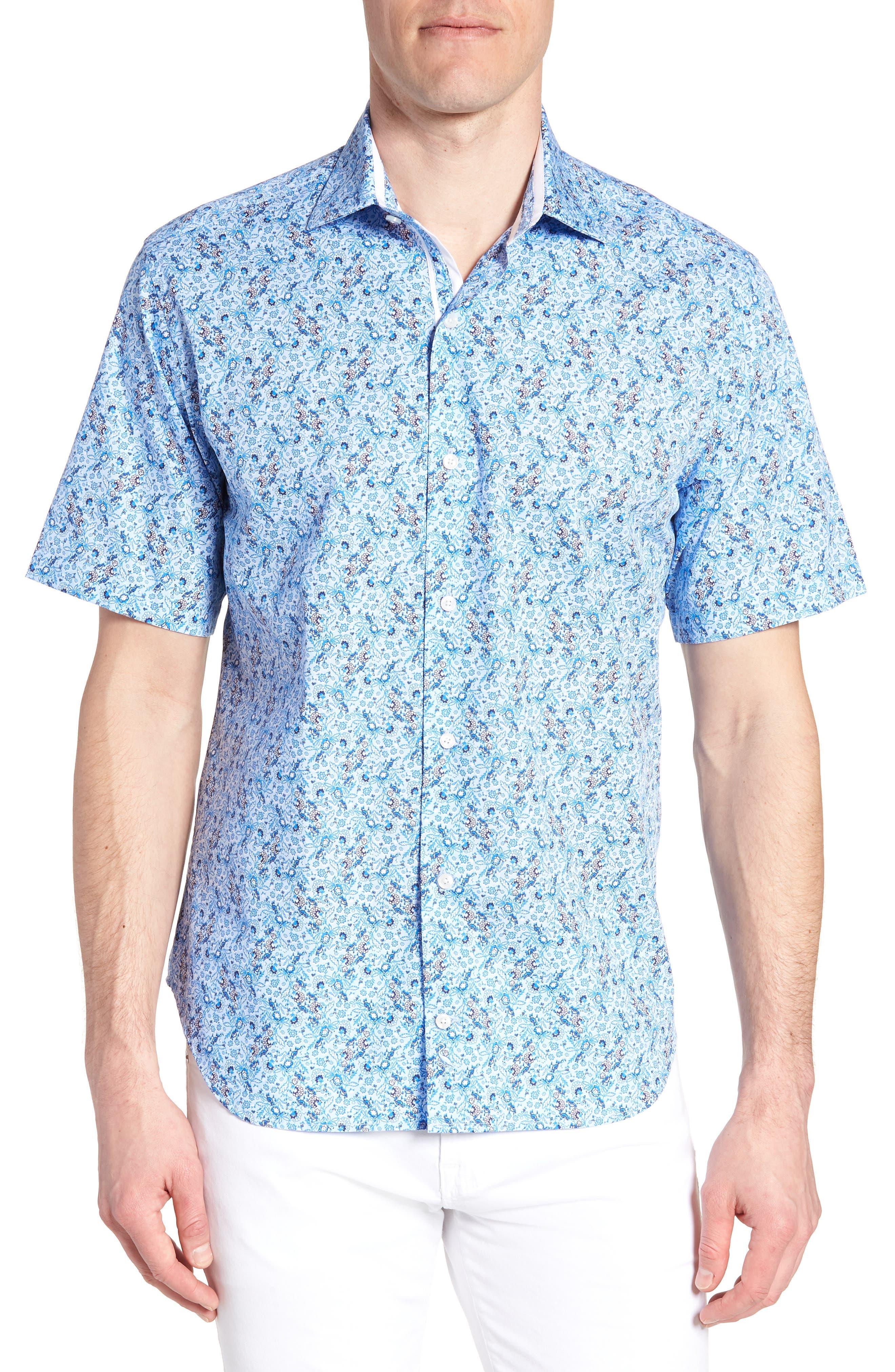 Alaric Regular Fit Print Sport Shirt,                             Main thumbnail 1, color,                             Blue