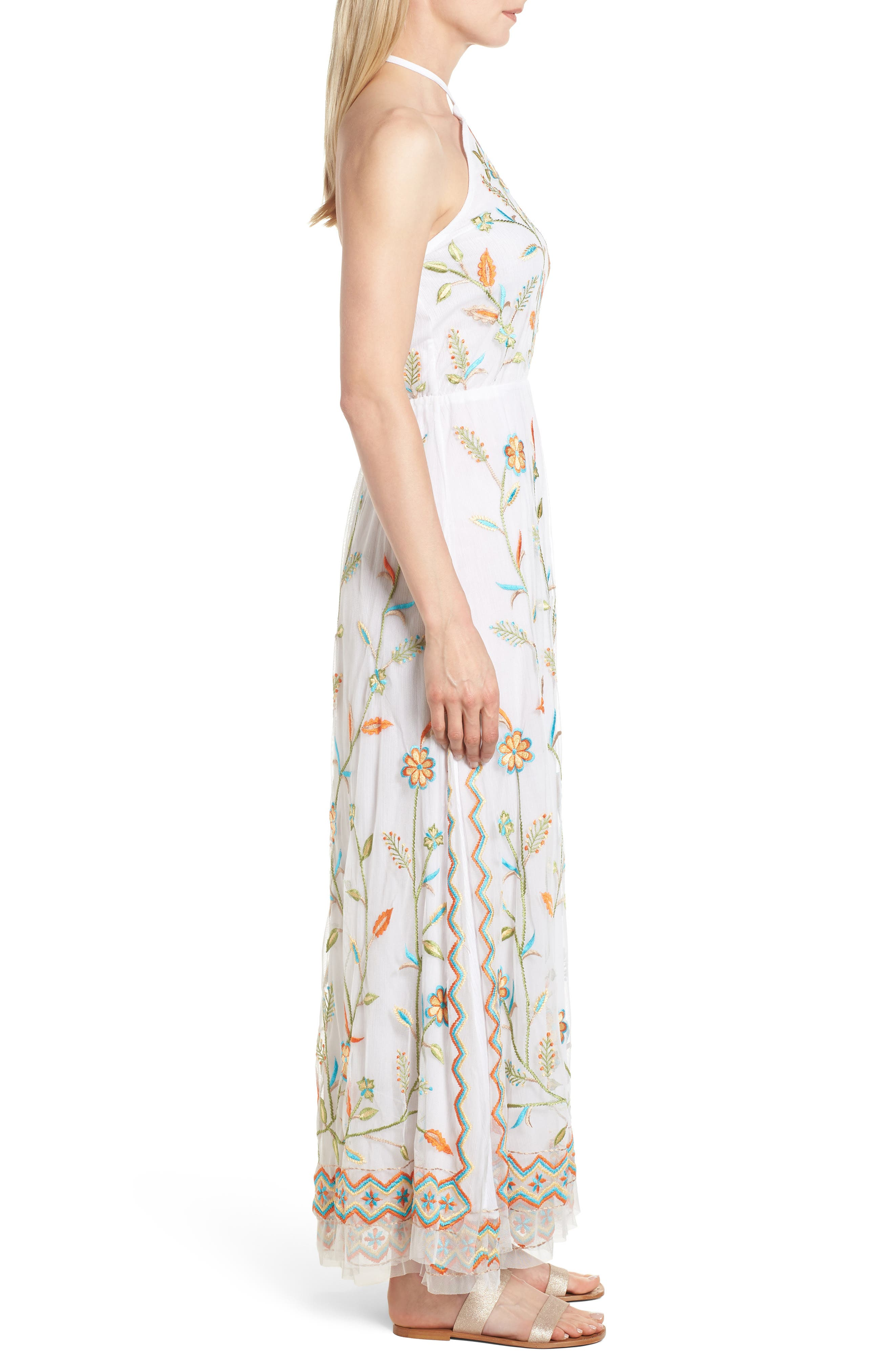Eve Embroidered Maxi Dress,                             Alternate thumbnail 3, color,                             White