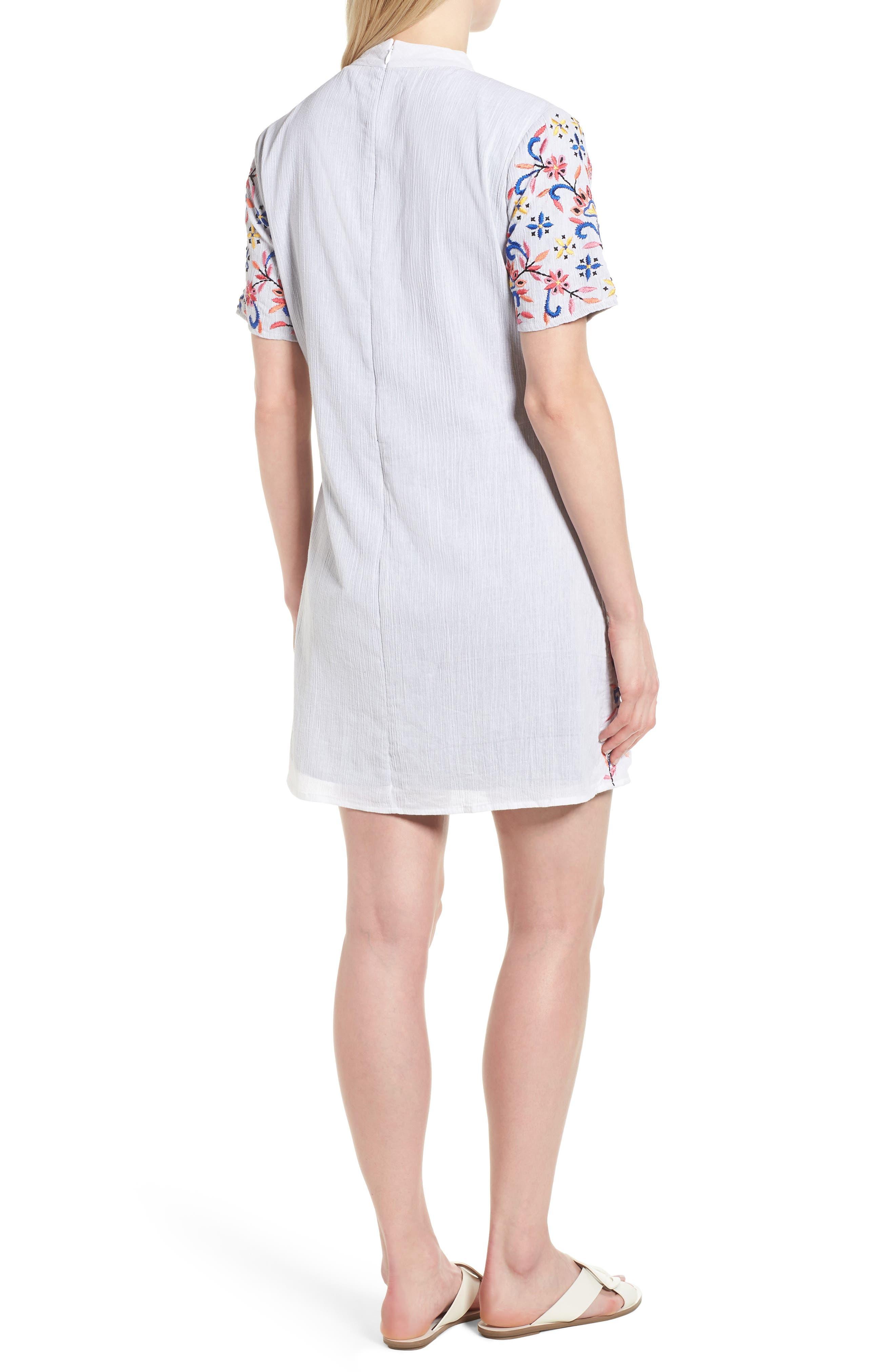 Fleur Embroidered Cotton Minidress,                             Alternate thumbnail 2, color,                             White