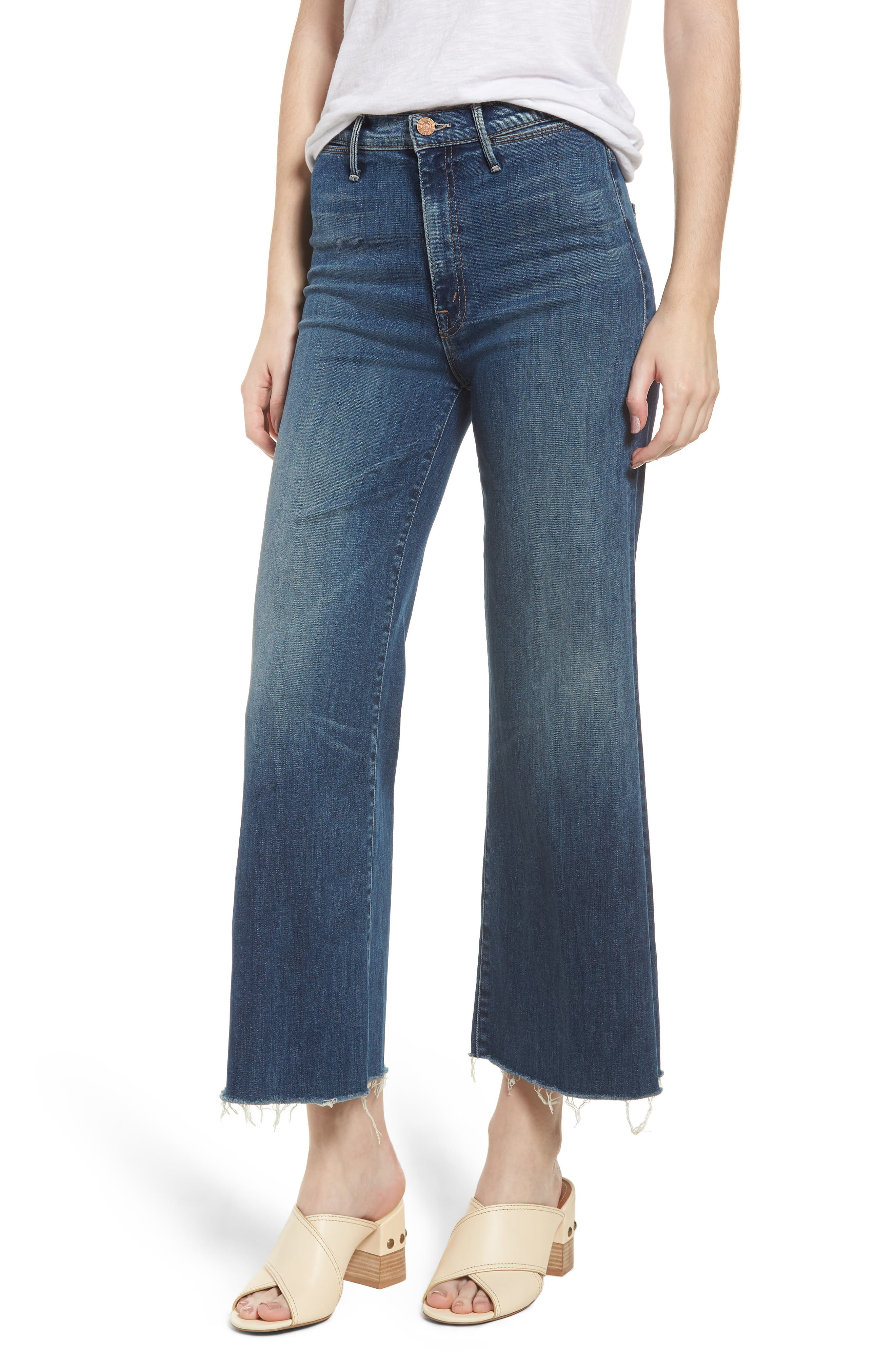 MOTHER The Swooner High Waist Crop Wide Leg Jeans (Come Sundown)