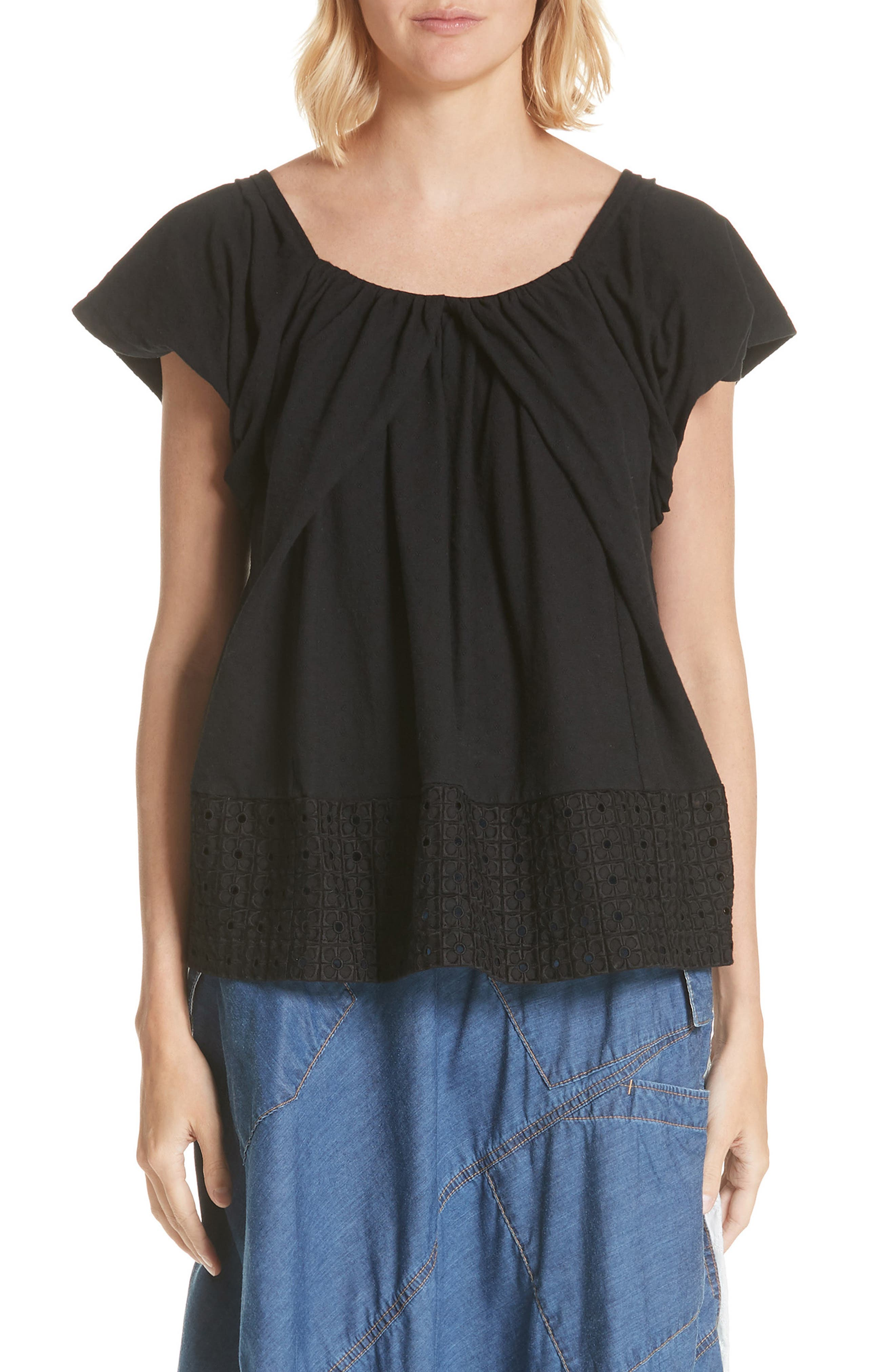 Back Bow Tee,                         Main,                         color, Black