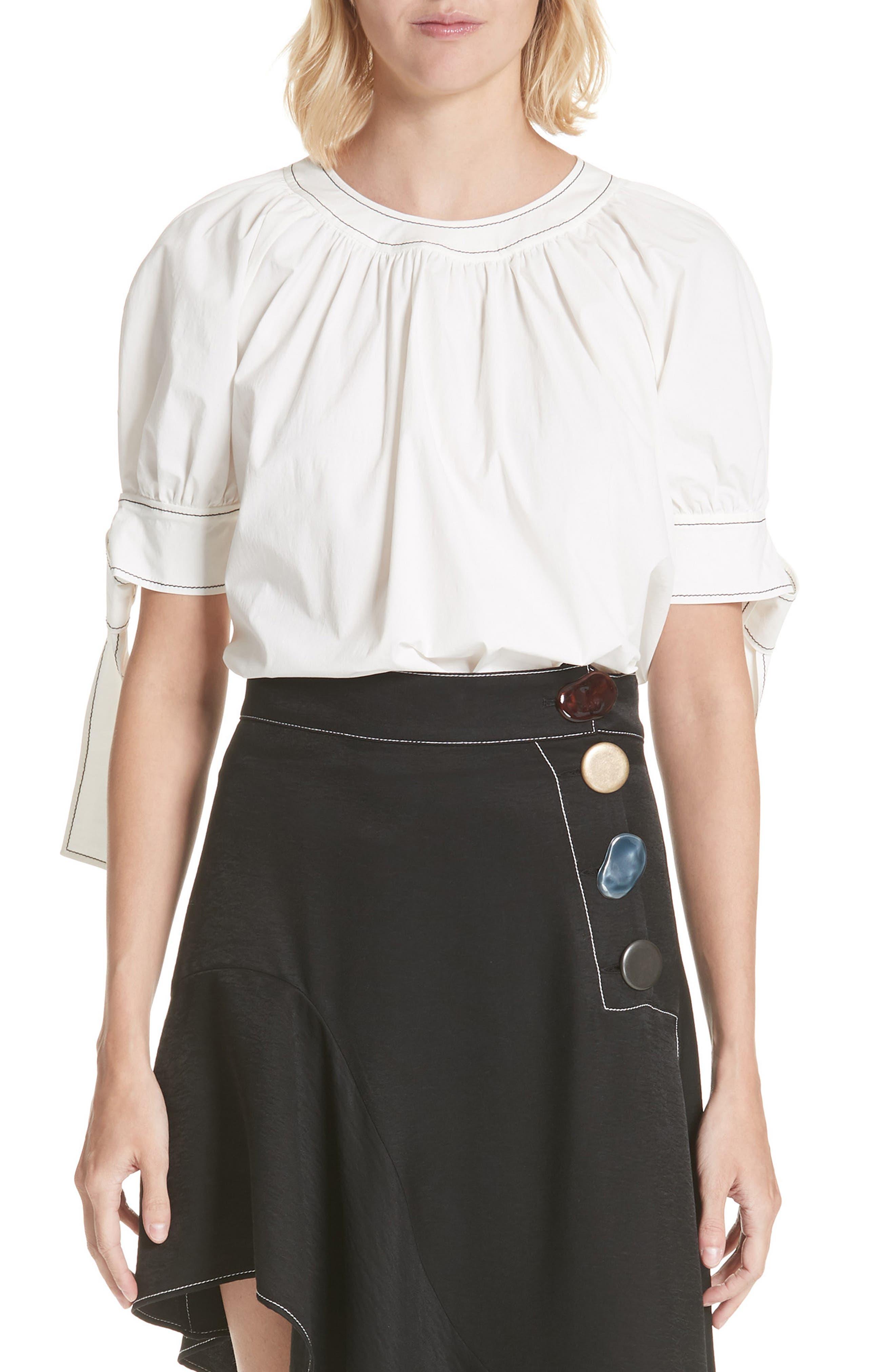 Hailey Short Sleeve Blouse Top,                         Main,                         color, Cotton White