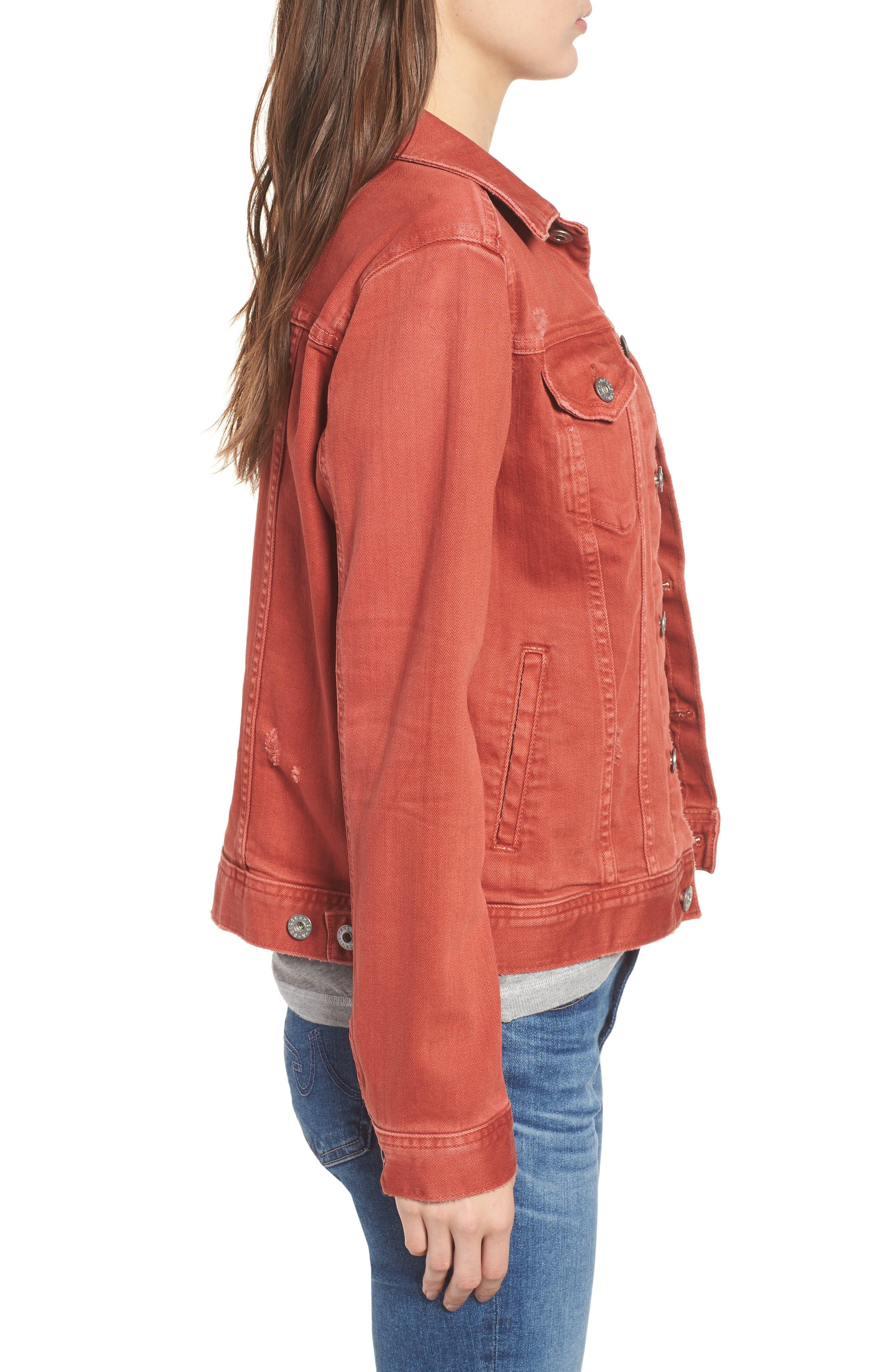 Mya Denim Jacket,                             Alternate thumbnail 3, color,                             10 Years Remedy Firebrick