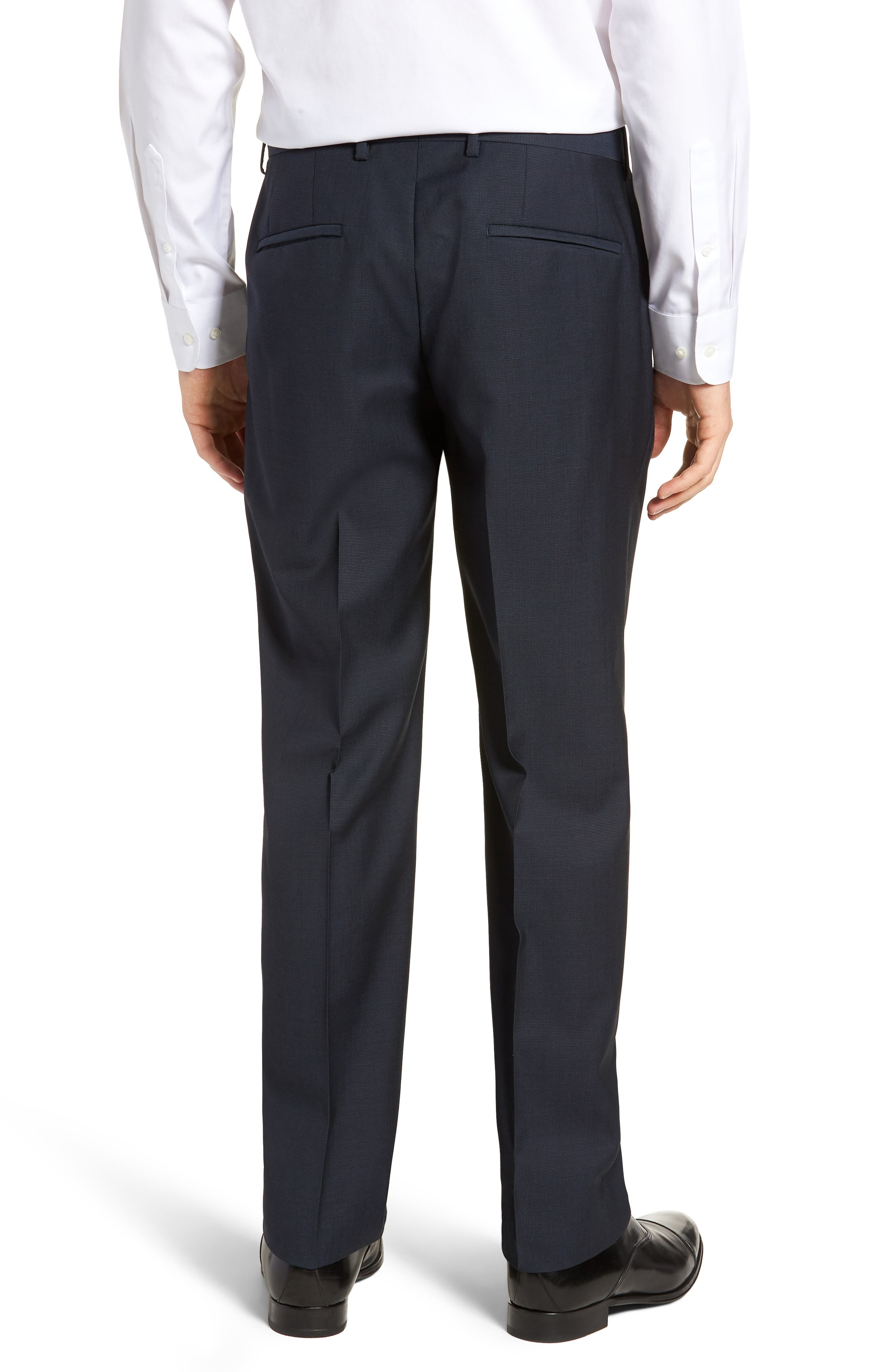 Barnes Flat Front Solid Wool Trousers,                             Alternate thumbnail 2, color,                             Navy