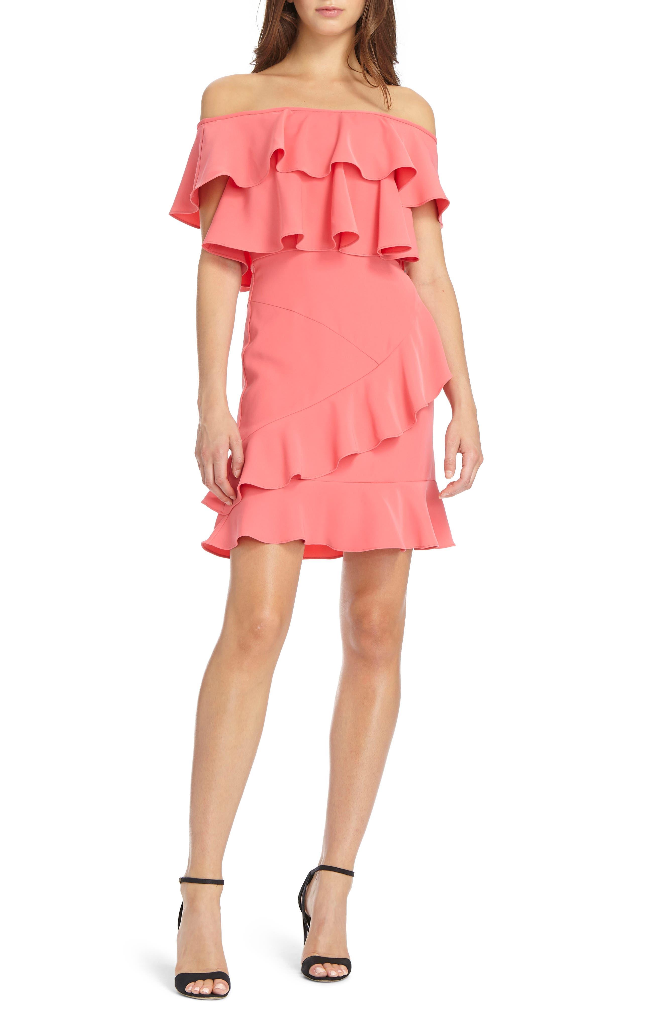 ML Monique Lhuillier Off the Shoulder Ruffle Crepe Dress