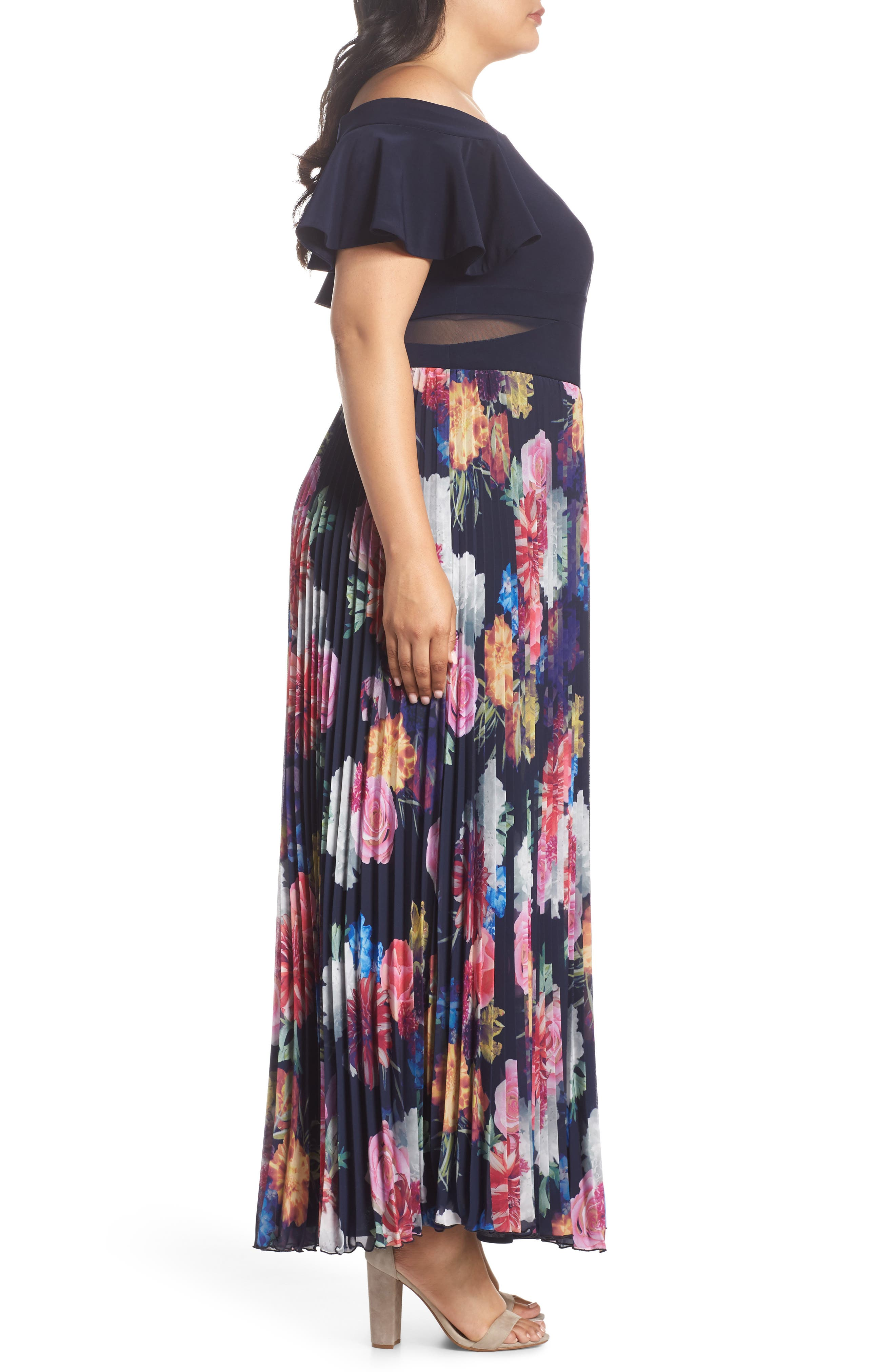 Ruffle Sleeve Off The Shoulder Pleated Maxi Dress,                             Alternate thumbnail 3, color,                             Navy/ Pink
