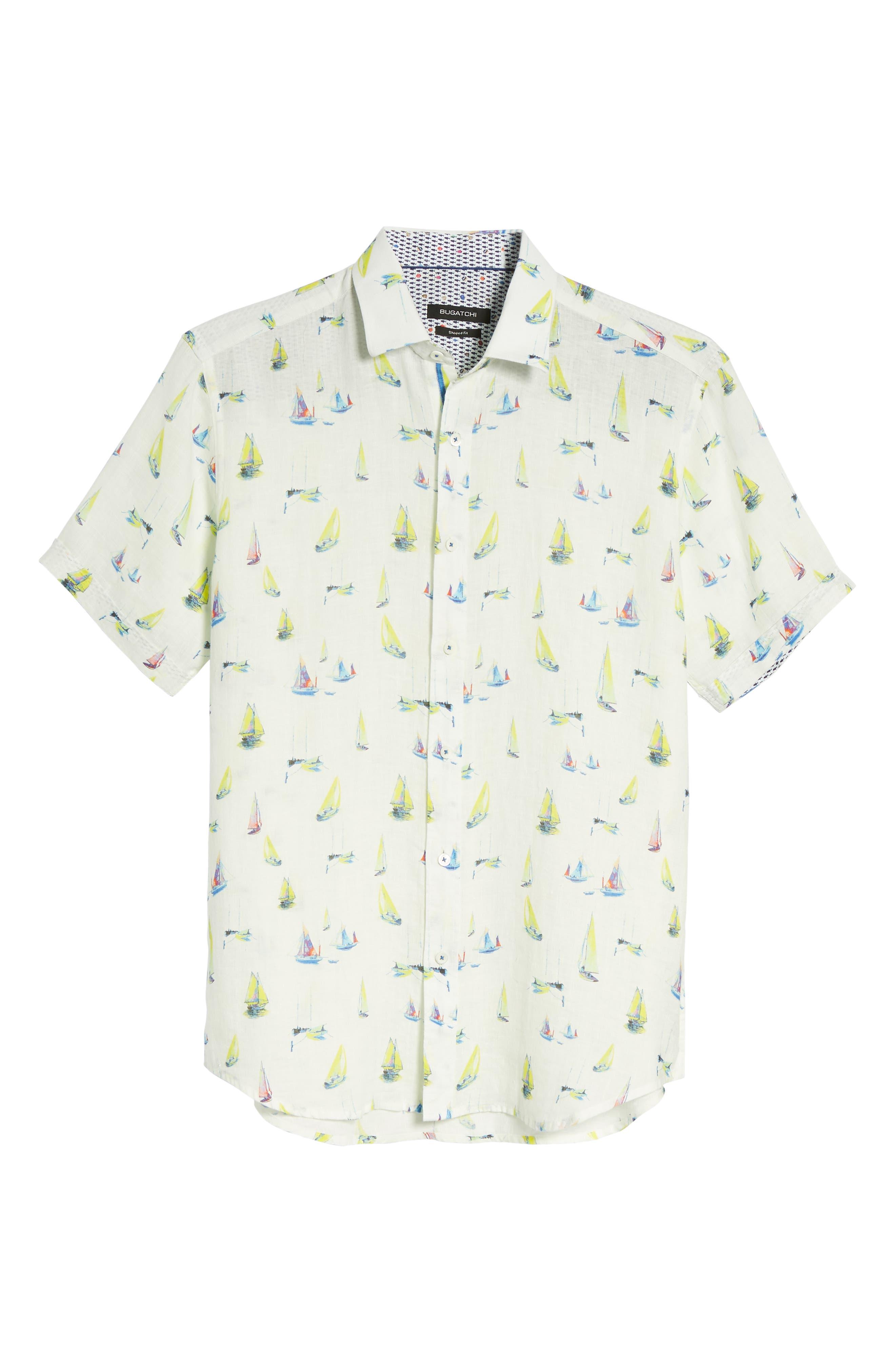 Shaped Fit Sailboat Linen Sport Shirt,                             Alternate thumbnail 6, color,                             Chalk