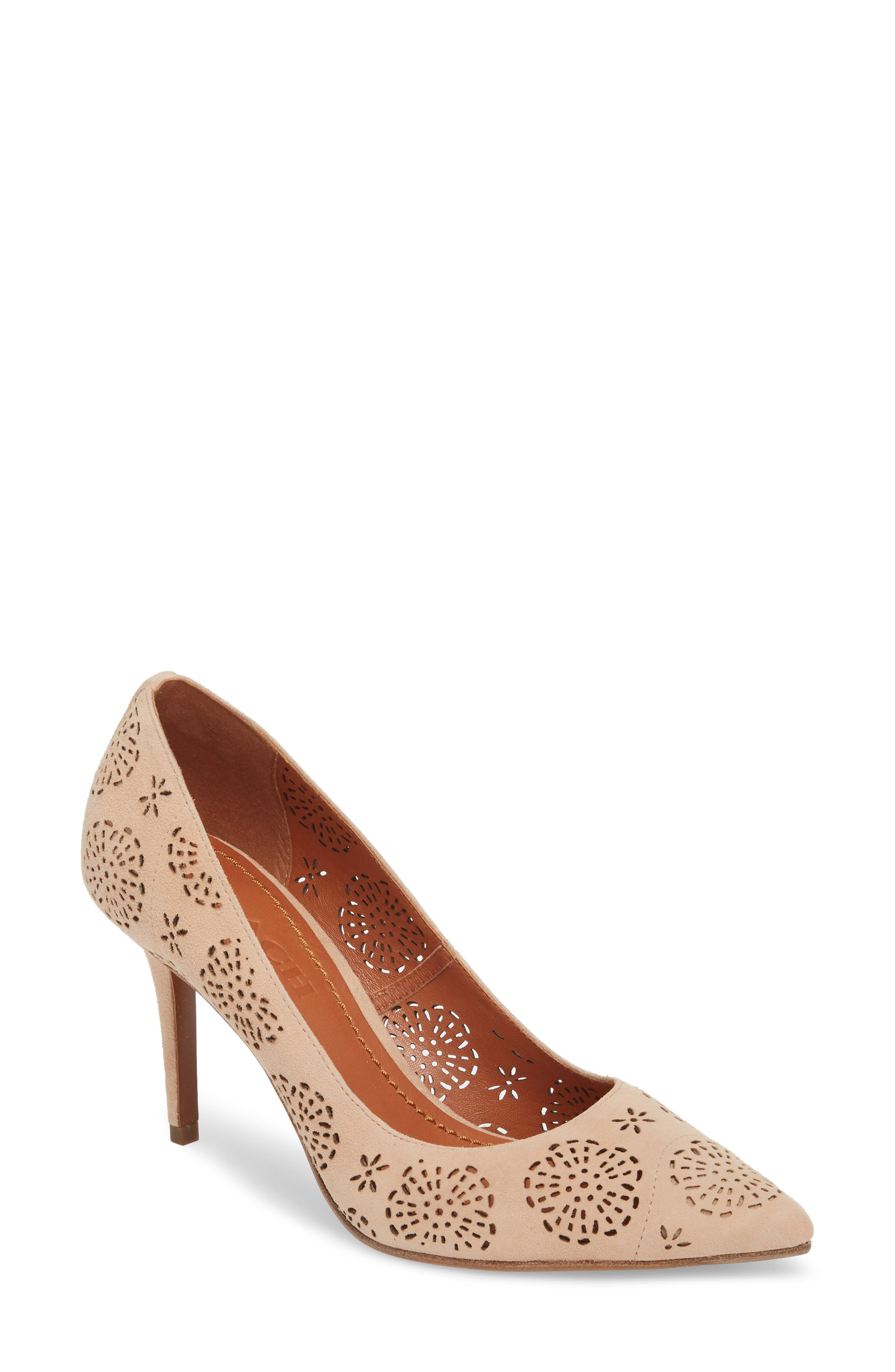 Waverly Tea Rose Perforated Pump,                             Main thumbnail 1, color,                             Beachwood Leather