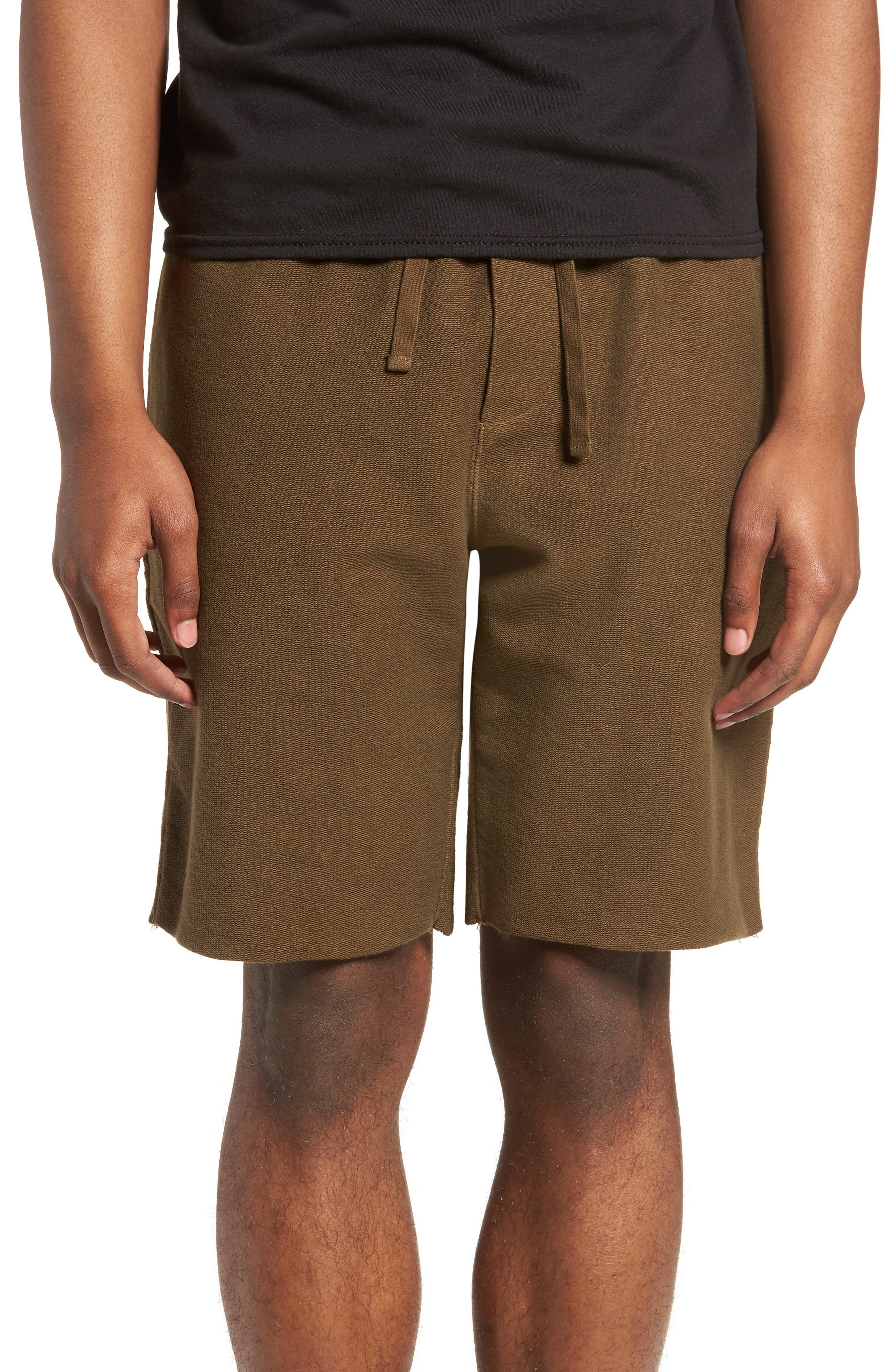 Reverse Terry Shorts,                         Main,                         color, Olive Dusk