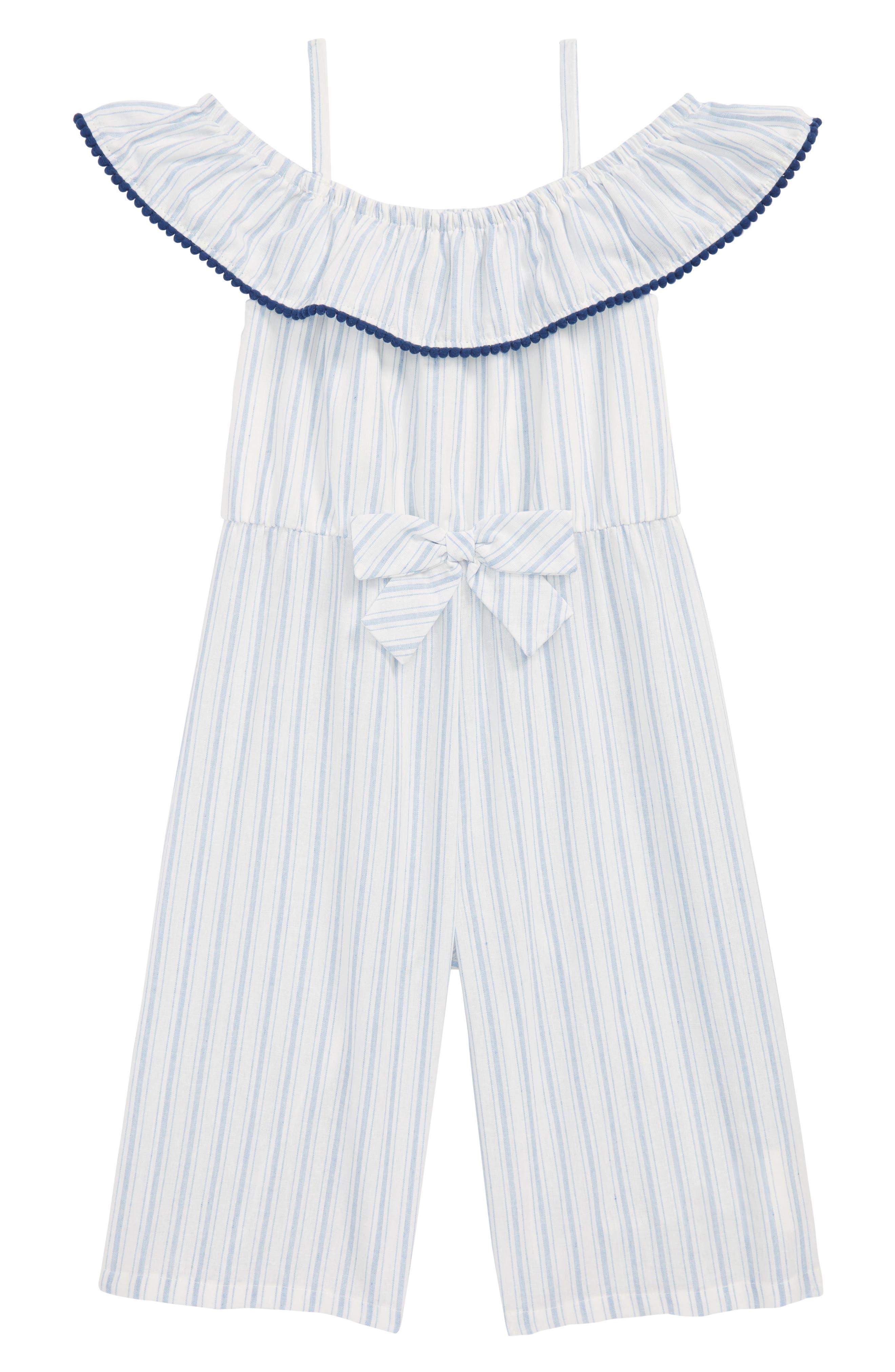 Pom Pom Striped Jumper,                             Main thumbnail 1, color,                             Blue/ White