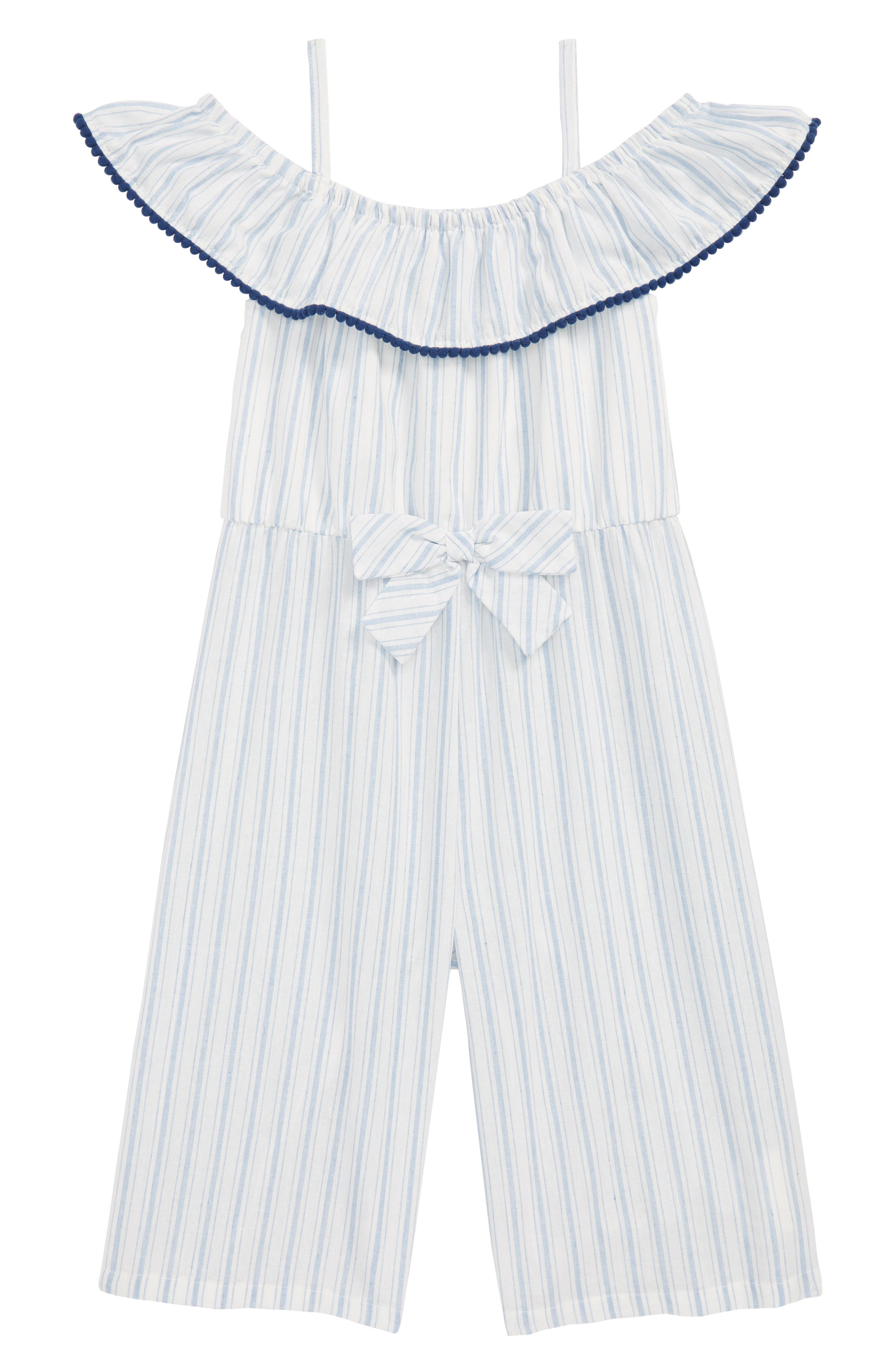Pom Pom Striped Jumper,                         Main,                         color, Blue/ White
