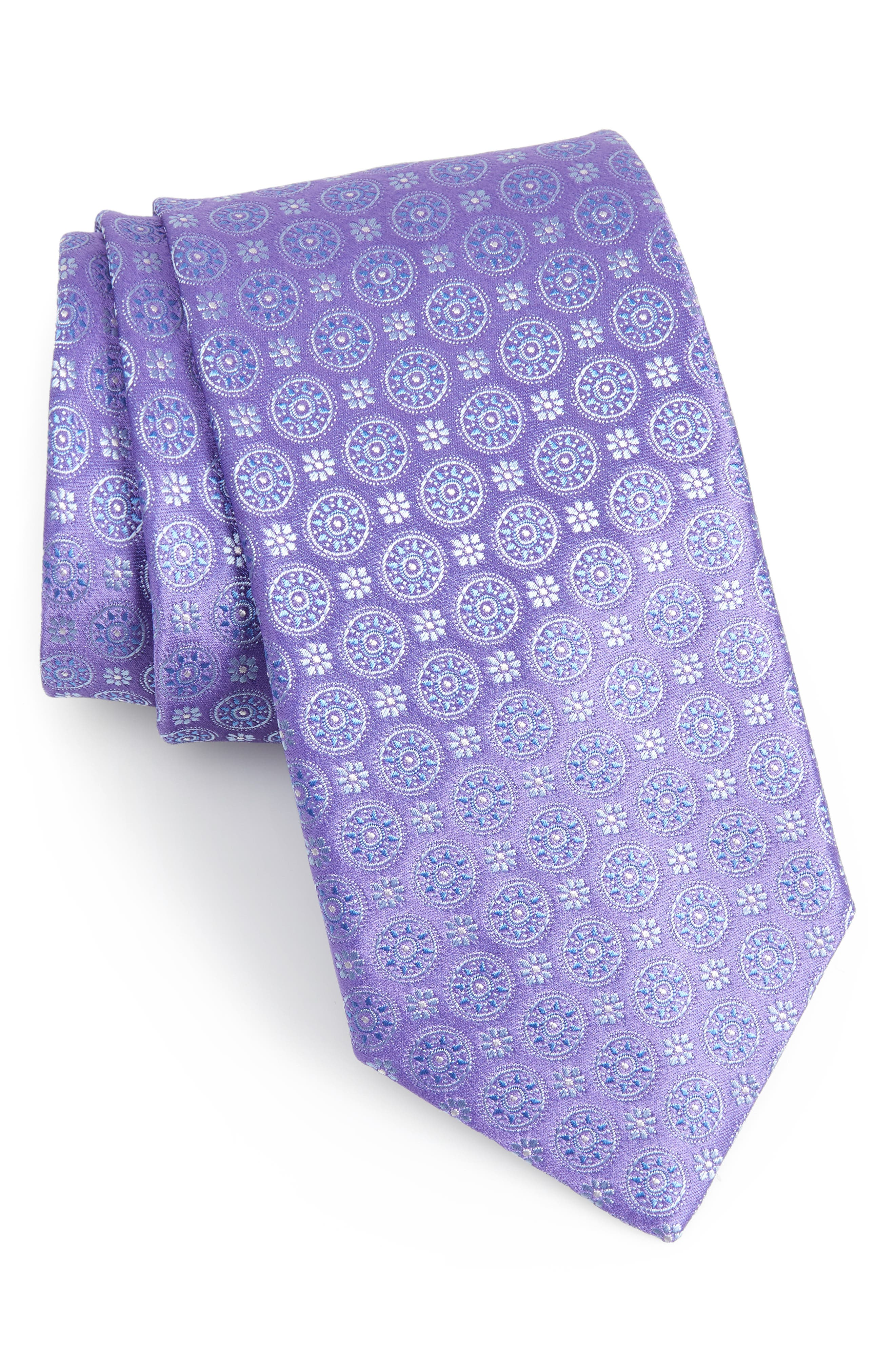 Geometric Silk Tie,                             Main thumbnail 1, color,                             Purple