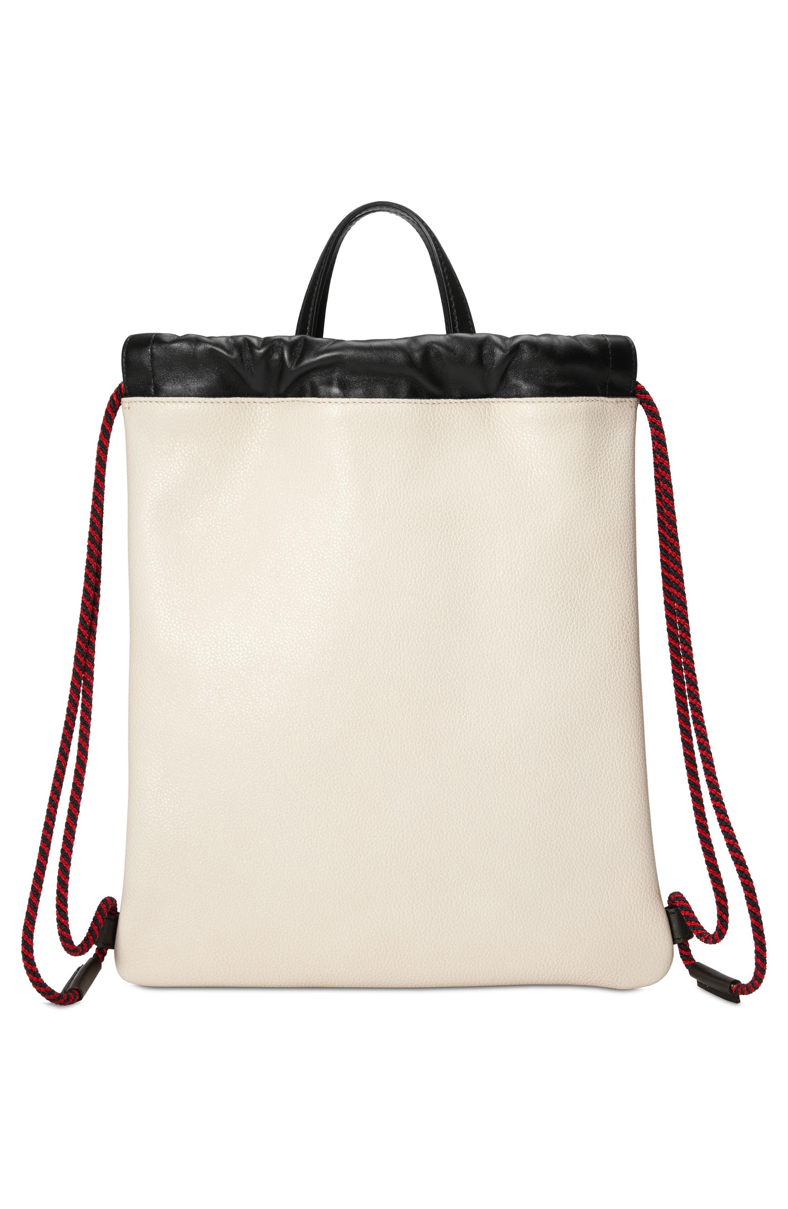 Small Logo Leather Drawstring Backpack,                             Alternate thumbnail 2, color,                             Mystic White/ Vert Red Vert