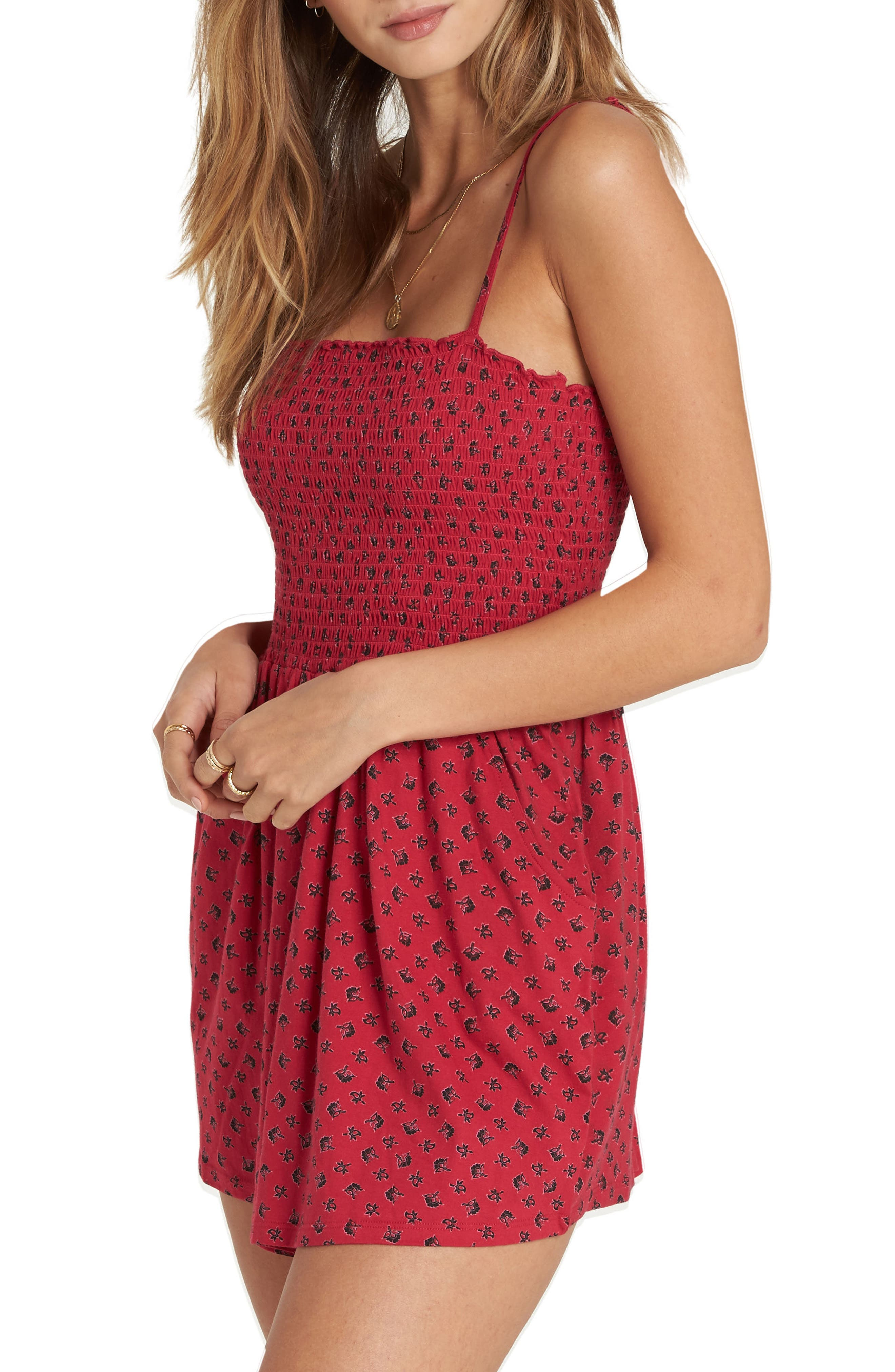 So Sure Smocked Romper,                             Alternate thumbnail 3, color,                             Crimson