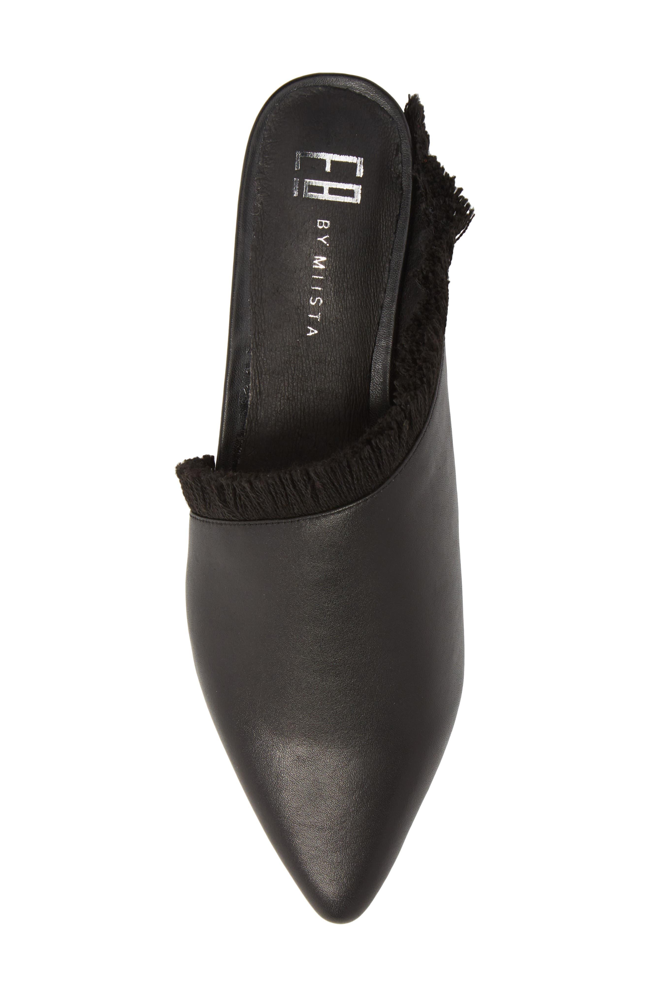 Leroy Asymmetrical Flat Mule,                             Alternate thumbnail 5, color,                             Black Leather