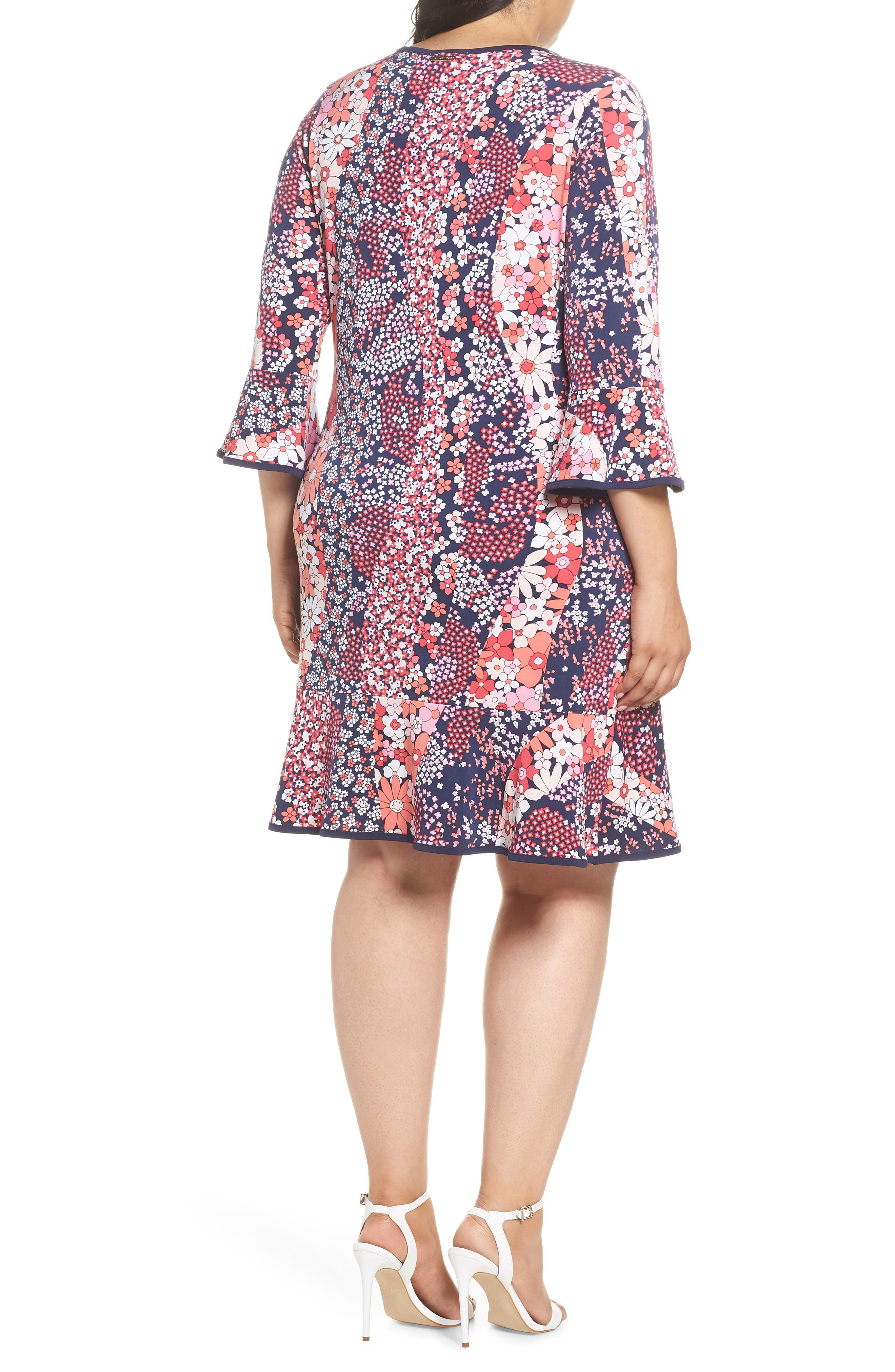 Patchwork Floral Bell Sleeve Shift Dress,                             Alternate thumbnail 2, color,                             True Navy/ Bright Blush