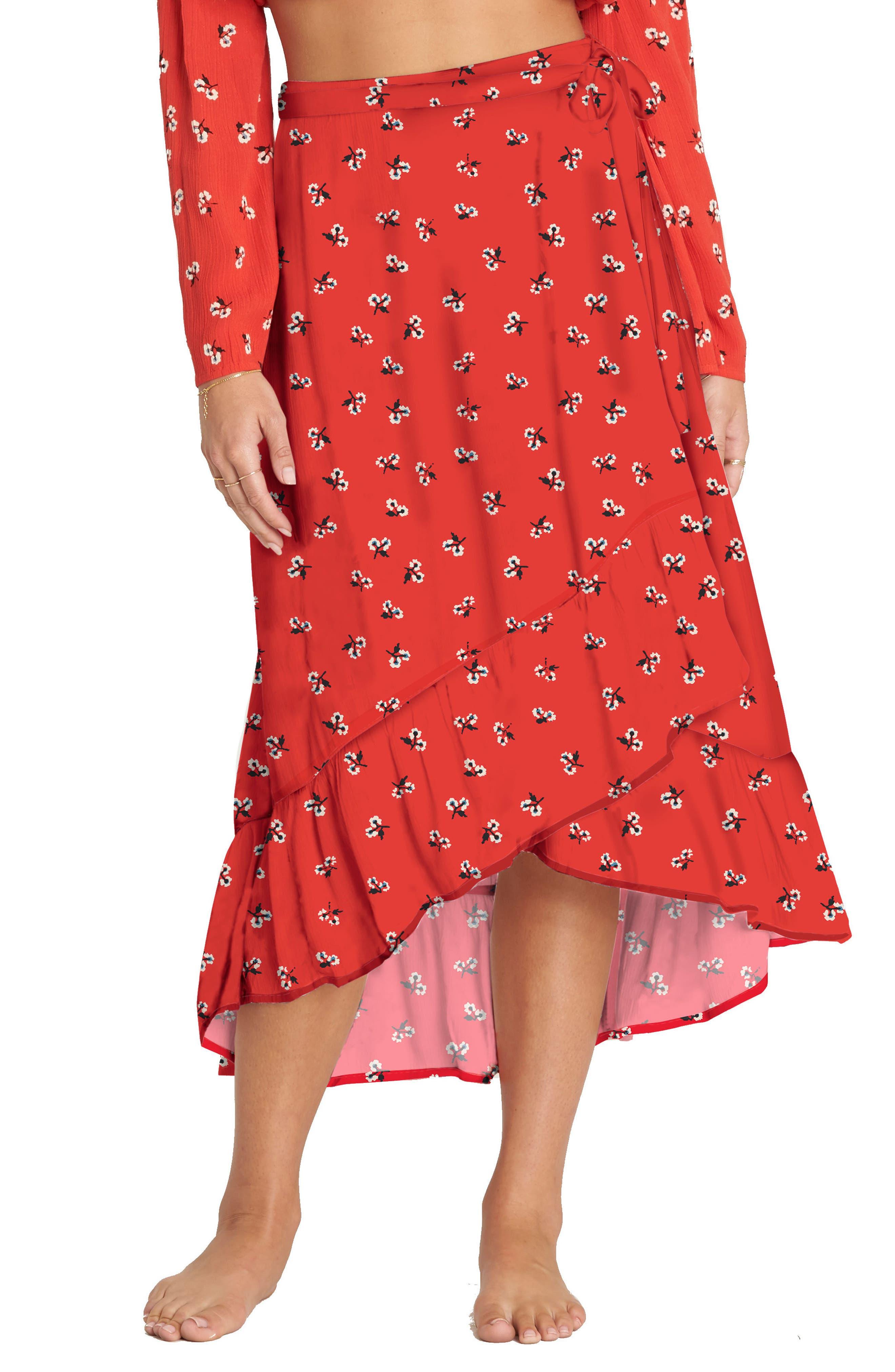 Dancing Til Dawn Print Wrap Skirt,                             Main thumbnail 1, color,                             Chili Pepper