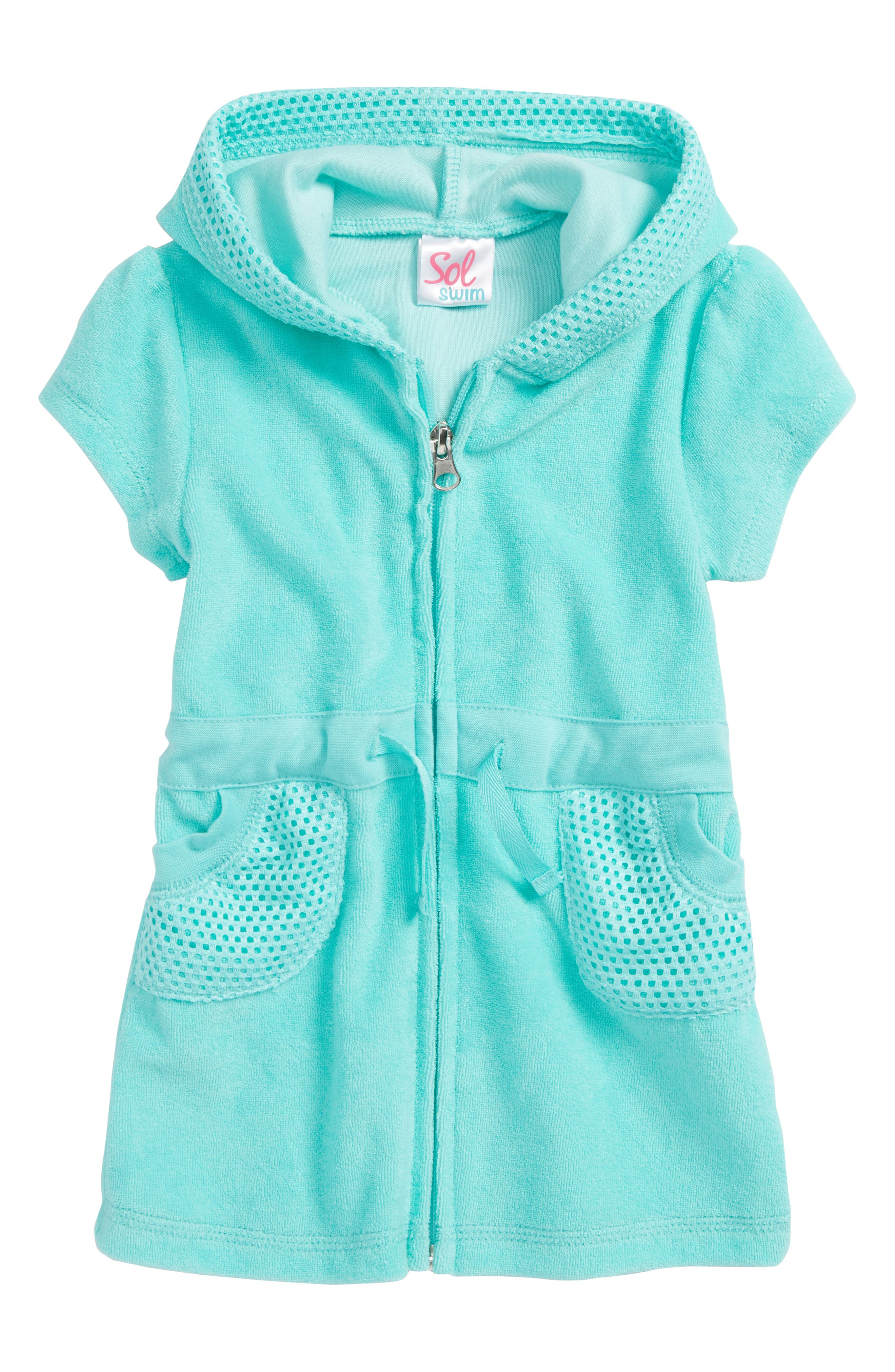 Front Zip Cover-Up Hoodie,                         Main,                         color, Turquoise
