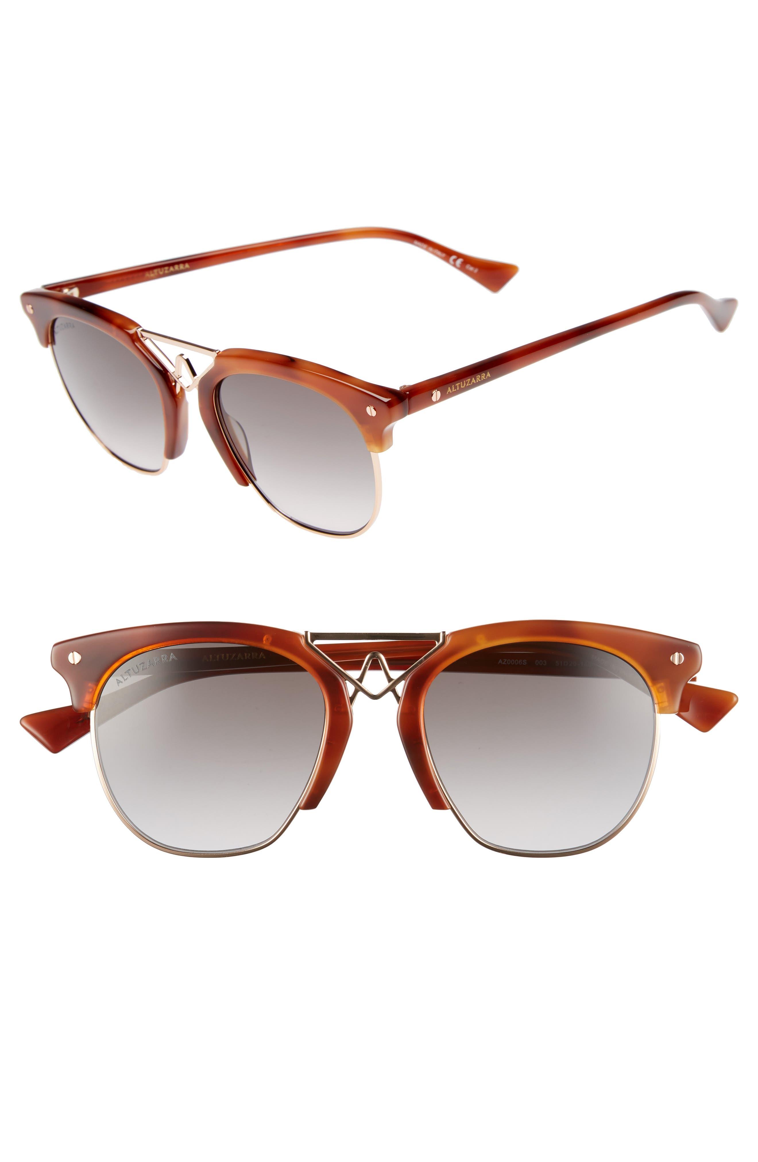 51mm Round Sunglasses,                             Main thumbnail 1, color,                             Havana