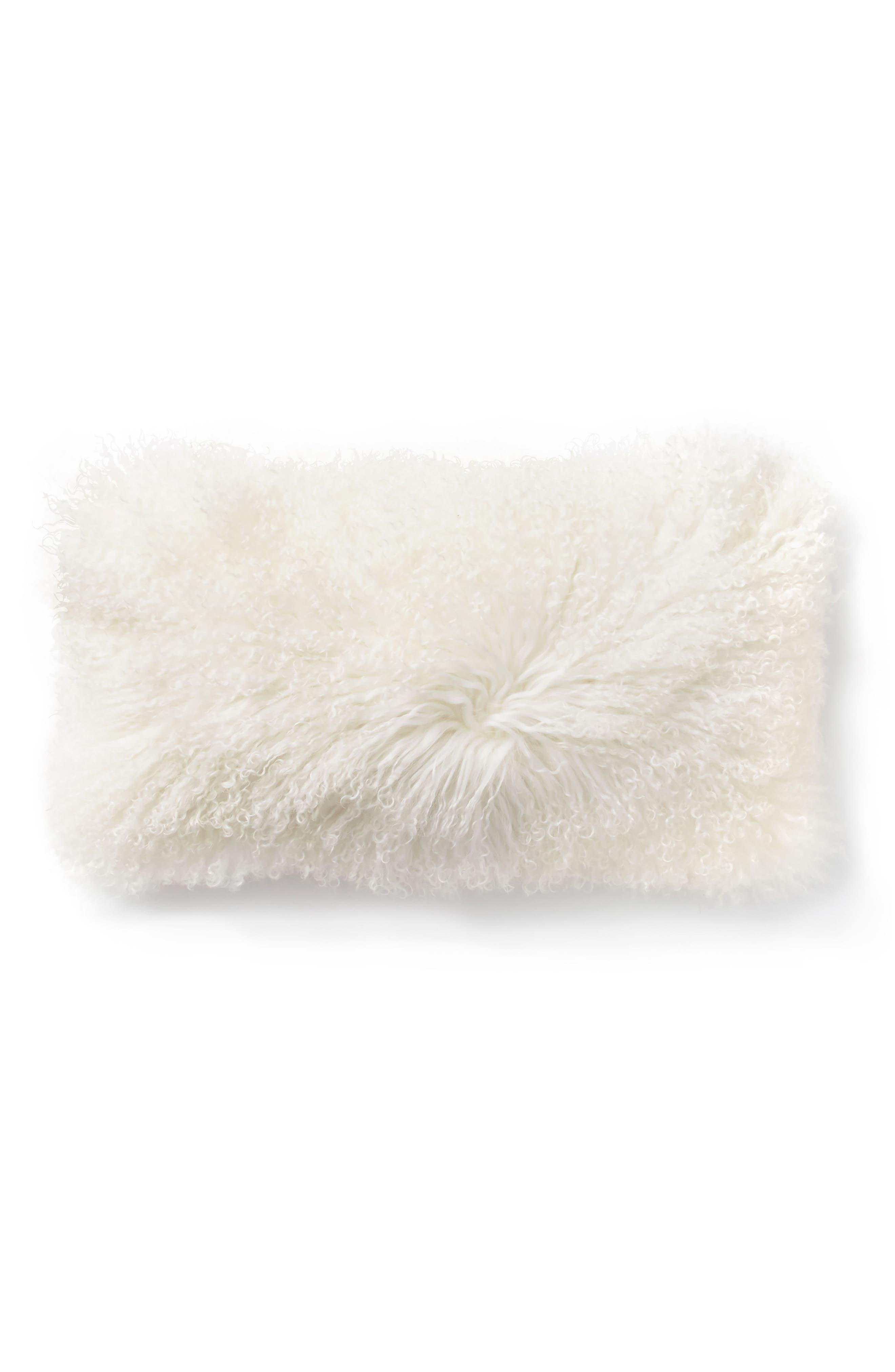 Donna Karan Flokati Genuine Shearling Accent Pillow,                             Main thumbnail 1, color,                             Ivory