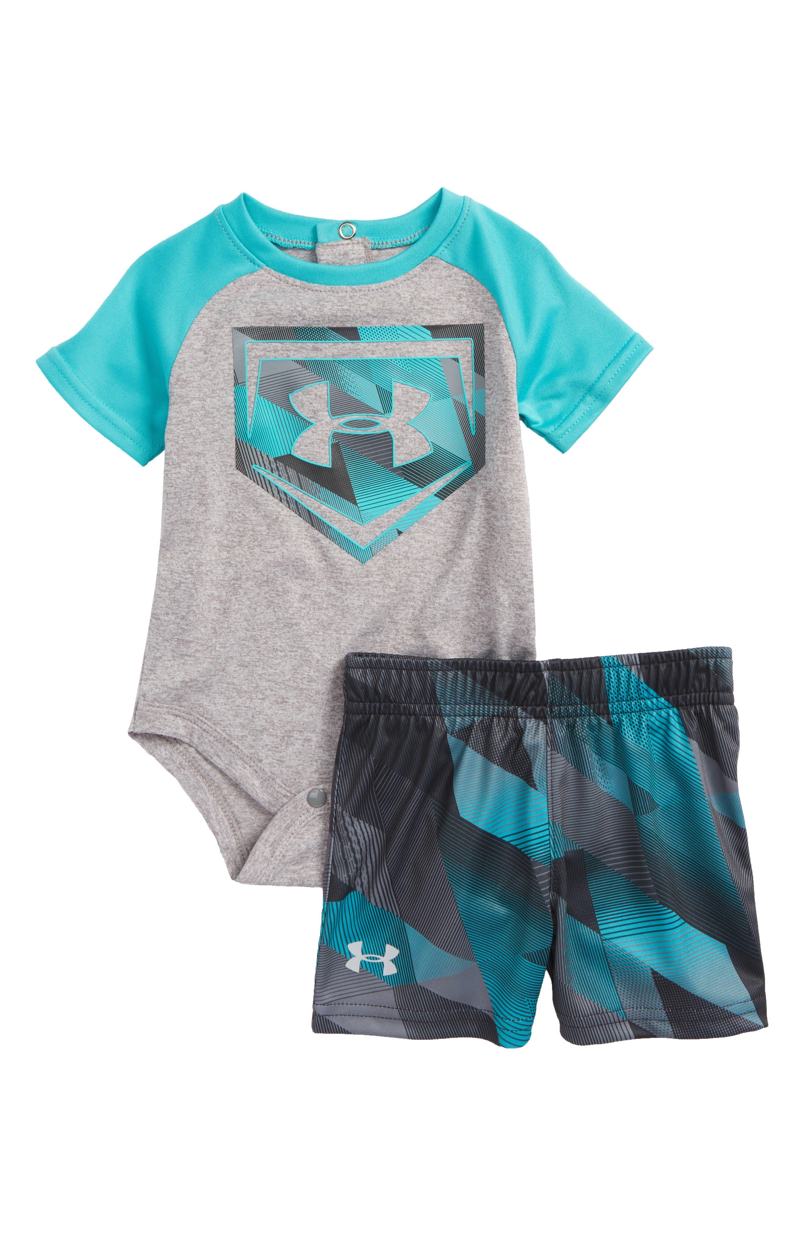 Electric Field Baseball HeatGear<sup>®</sup> Bodysuit & Shorts Set,                         Main,                         color, True Grey Heather