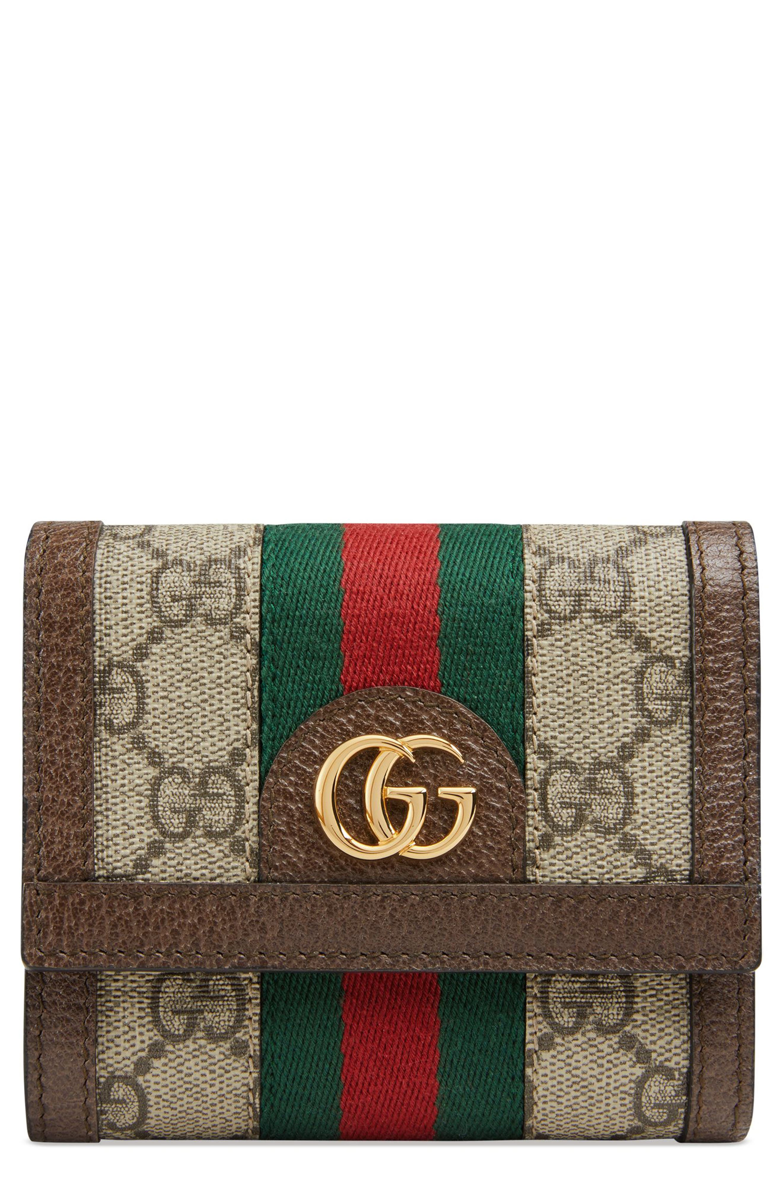 Ophidia GG Supreme French Wallet,                             Main thumbnail 1, color,                             Beige Ebony/ Acero/ Vert Red