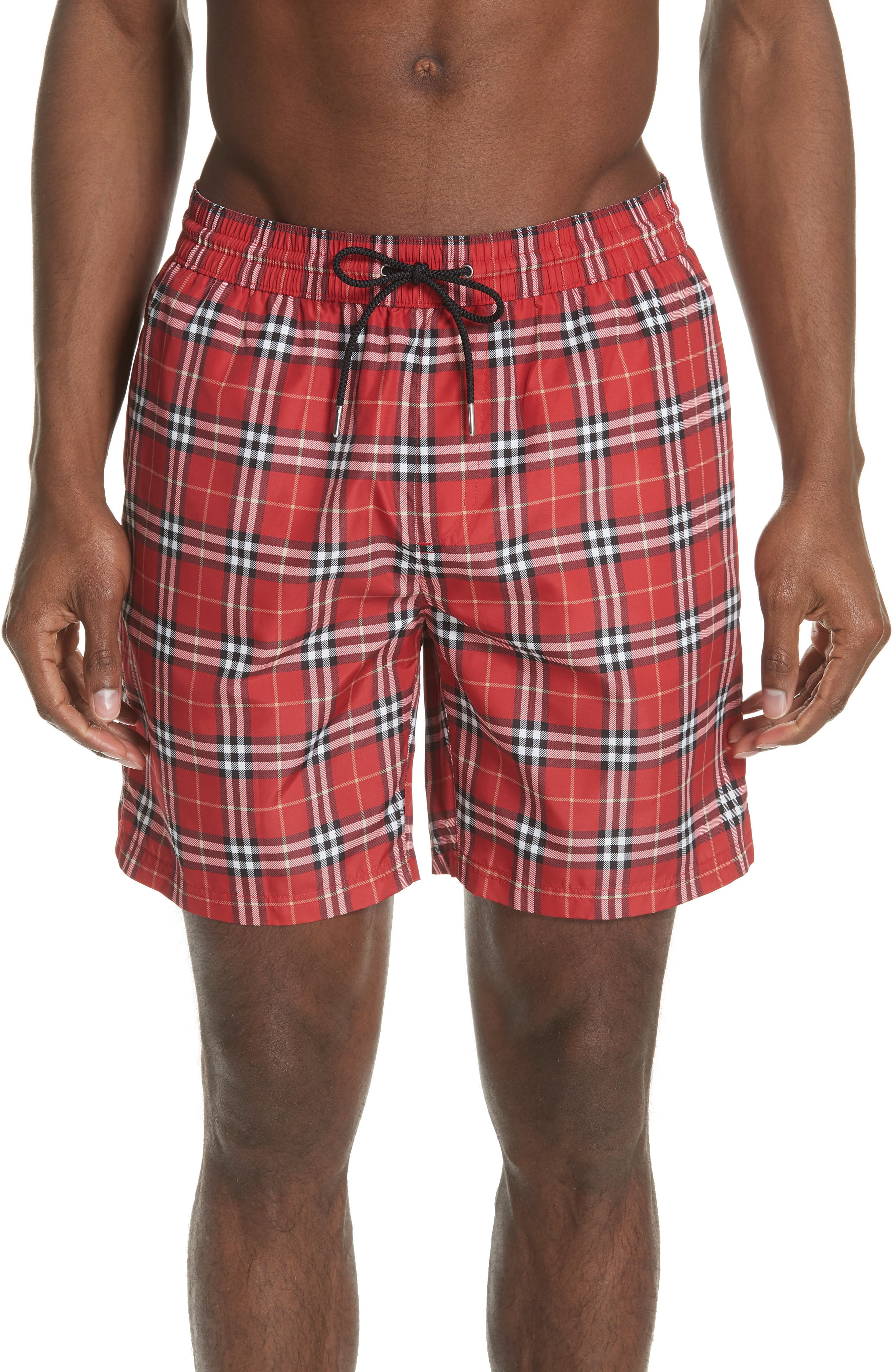 Guides New Check Swim Trunks,                             Main thumbnail 1, color,                             Parade Red