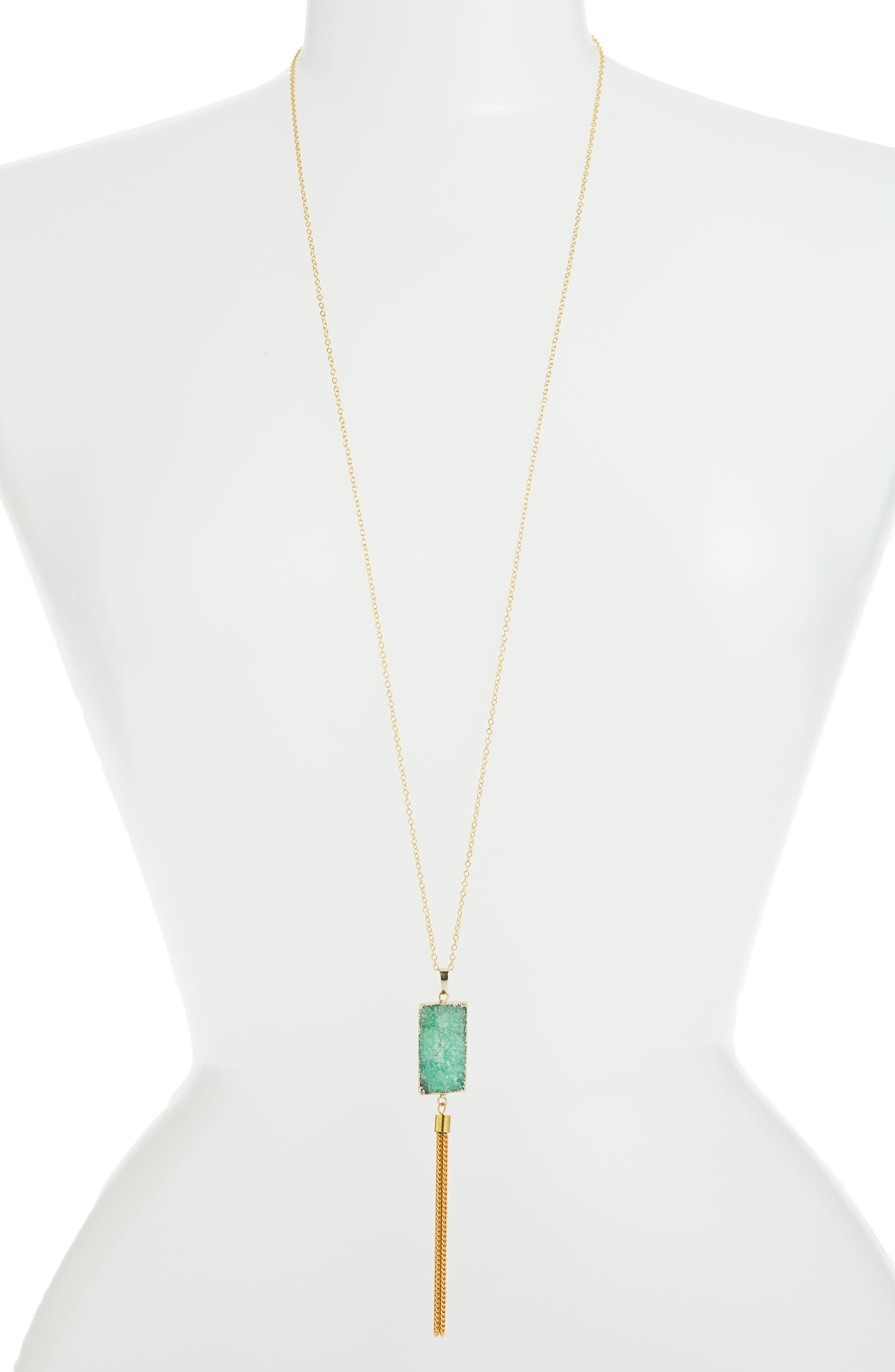 Carmela Drusy Pendant Necklace,                             Main thumbnail 1, color,                             Emerald
