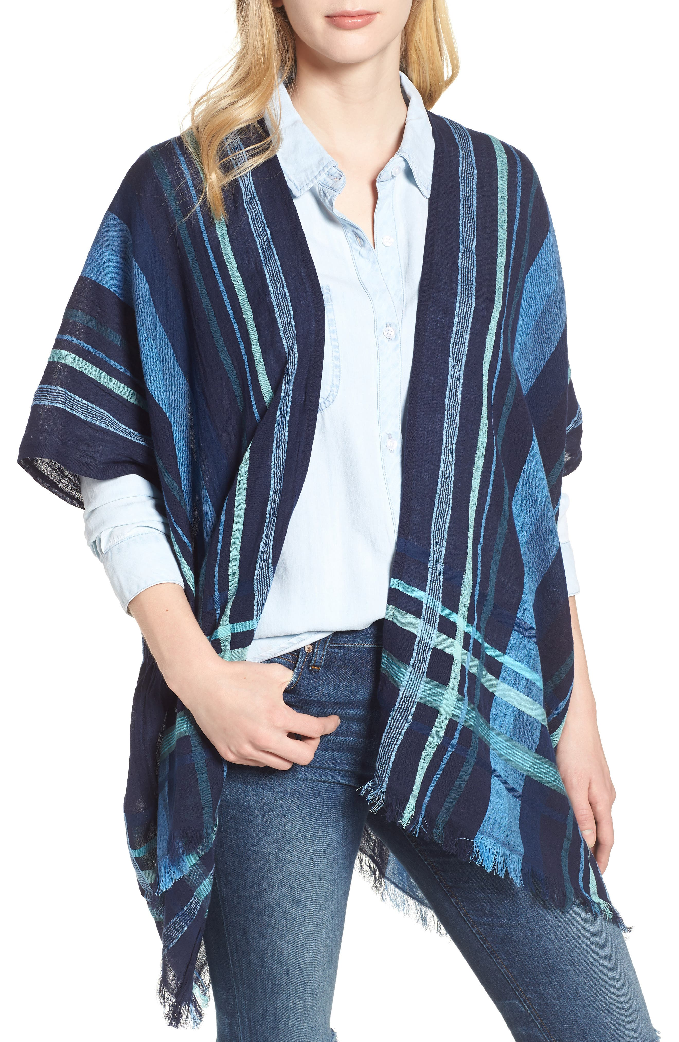 Poolside Plaid Open Cardigan,                         Main,                         color, Navy