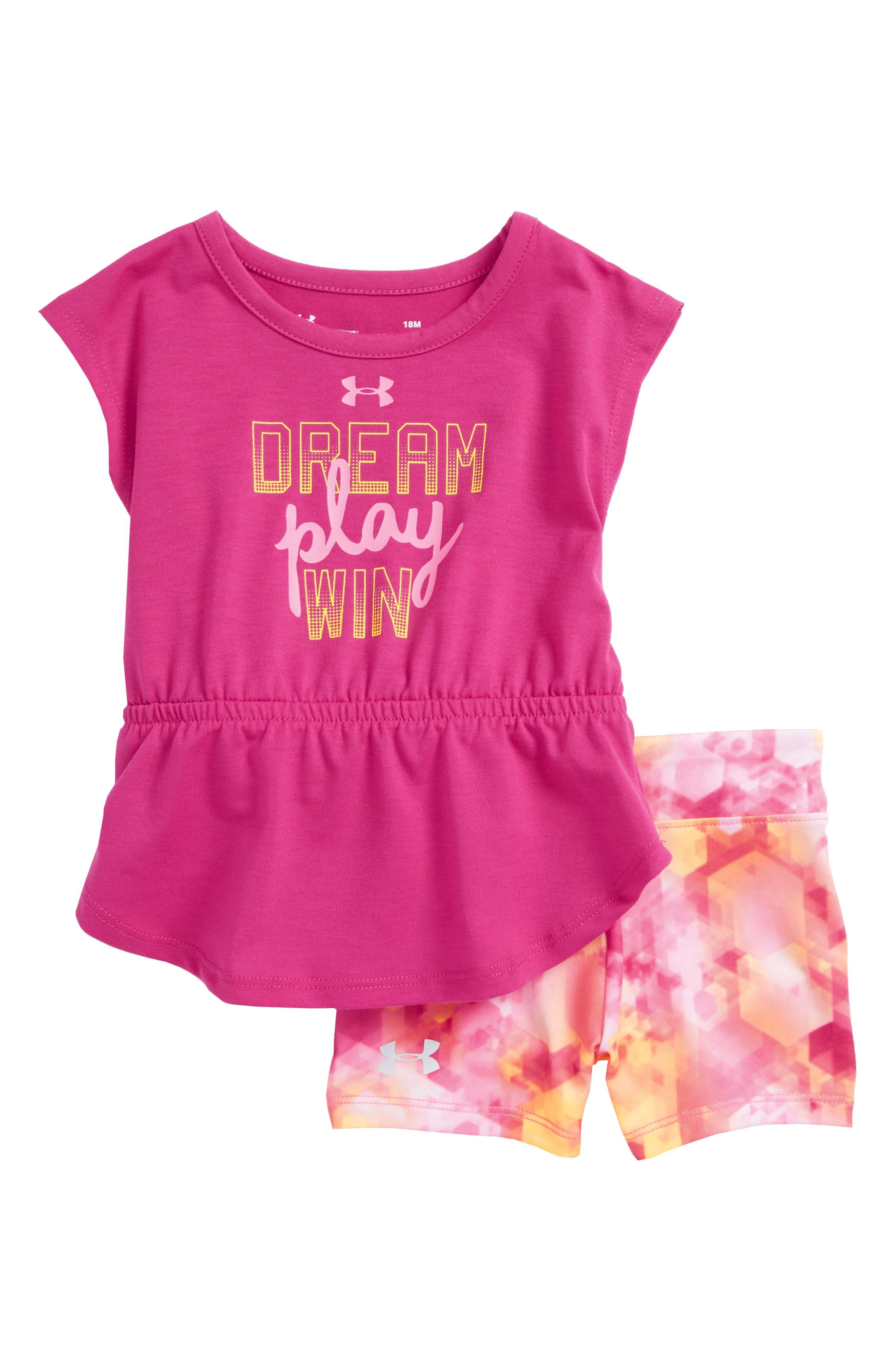 Dream Play Win Peplum Tee & Shorts Set,                             Main thumbnail 1, color,                             Tropic Pink