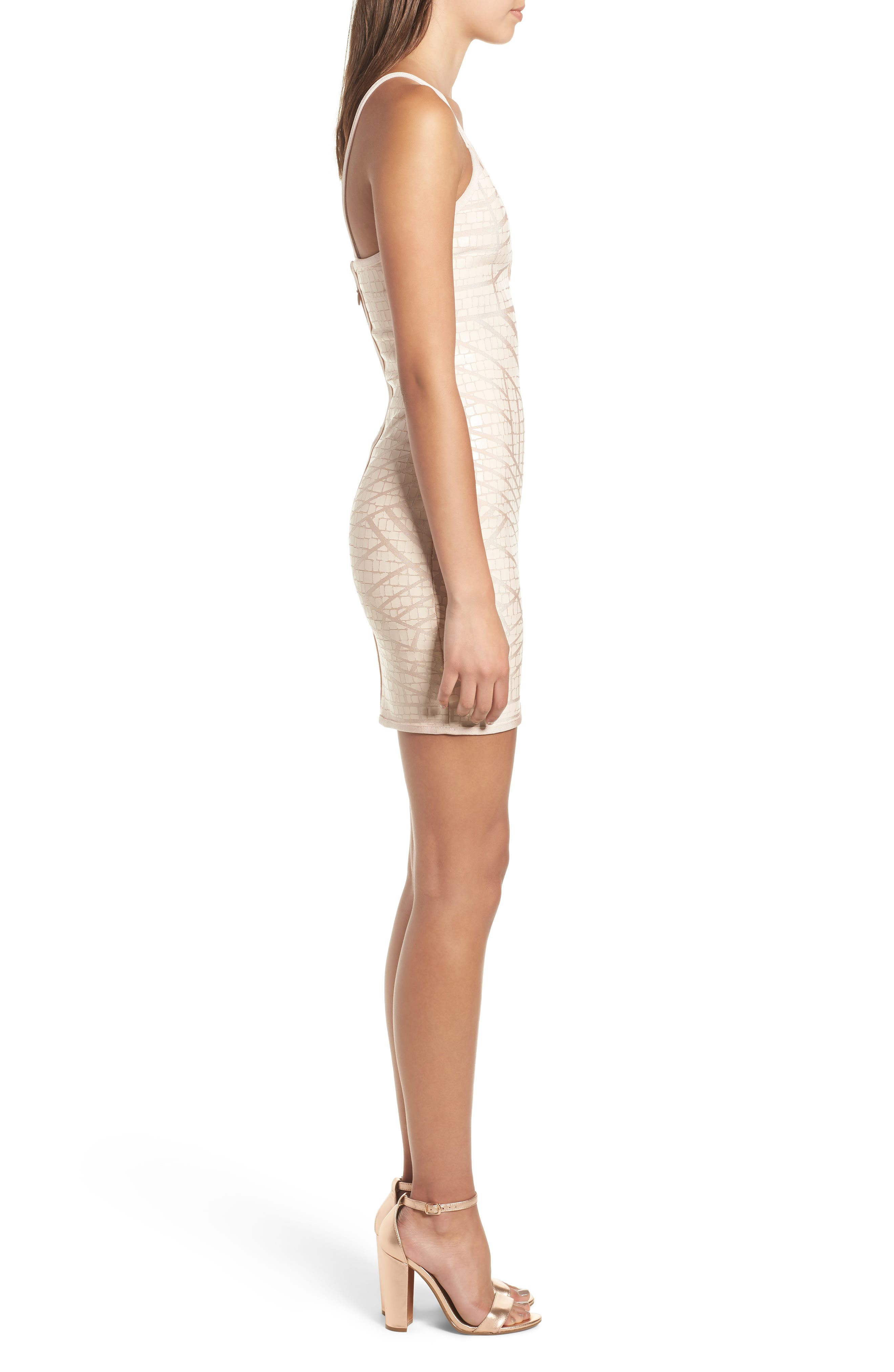 Bandage Body-Con Dress,                             Alternate thumbnail 3, color,                             Nude