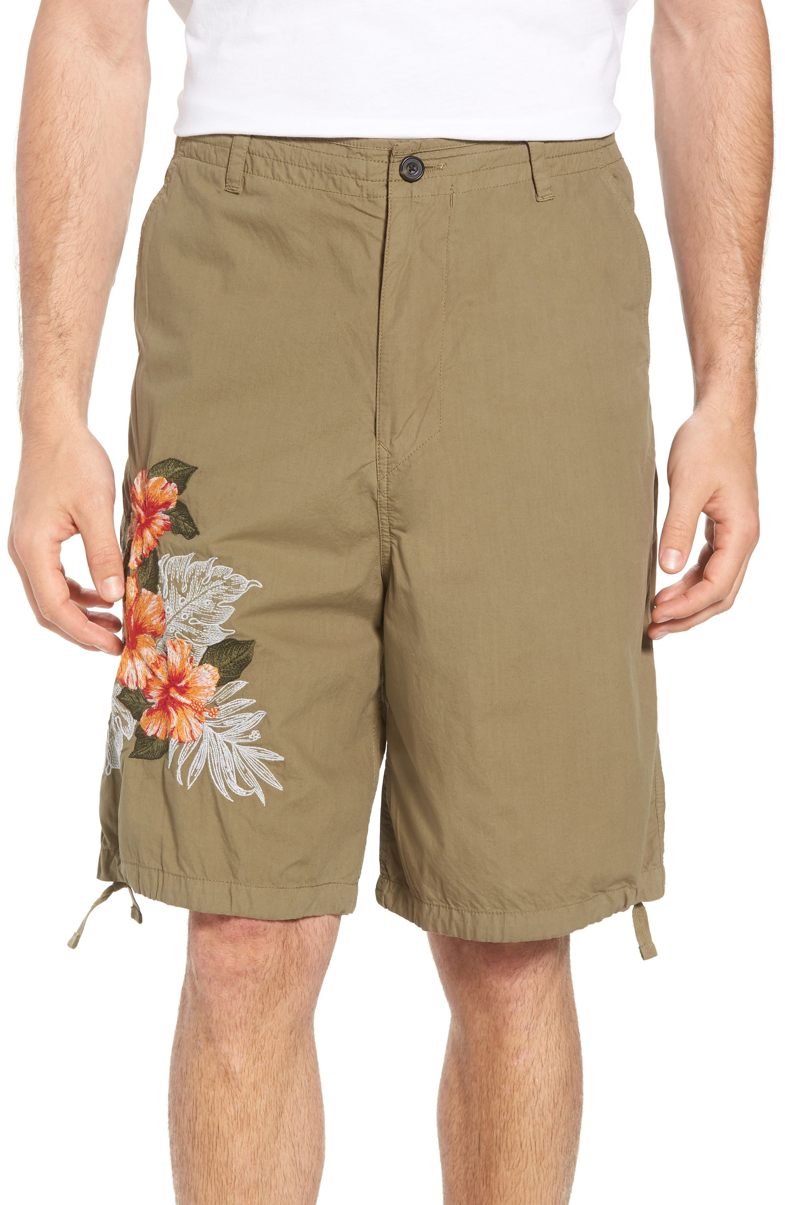 Embroidered Poplin Shorts,                             Main thumbnail 1, color,                             Deep Lichen Green