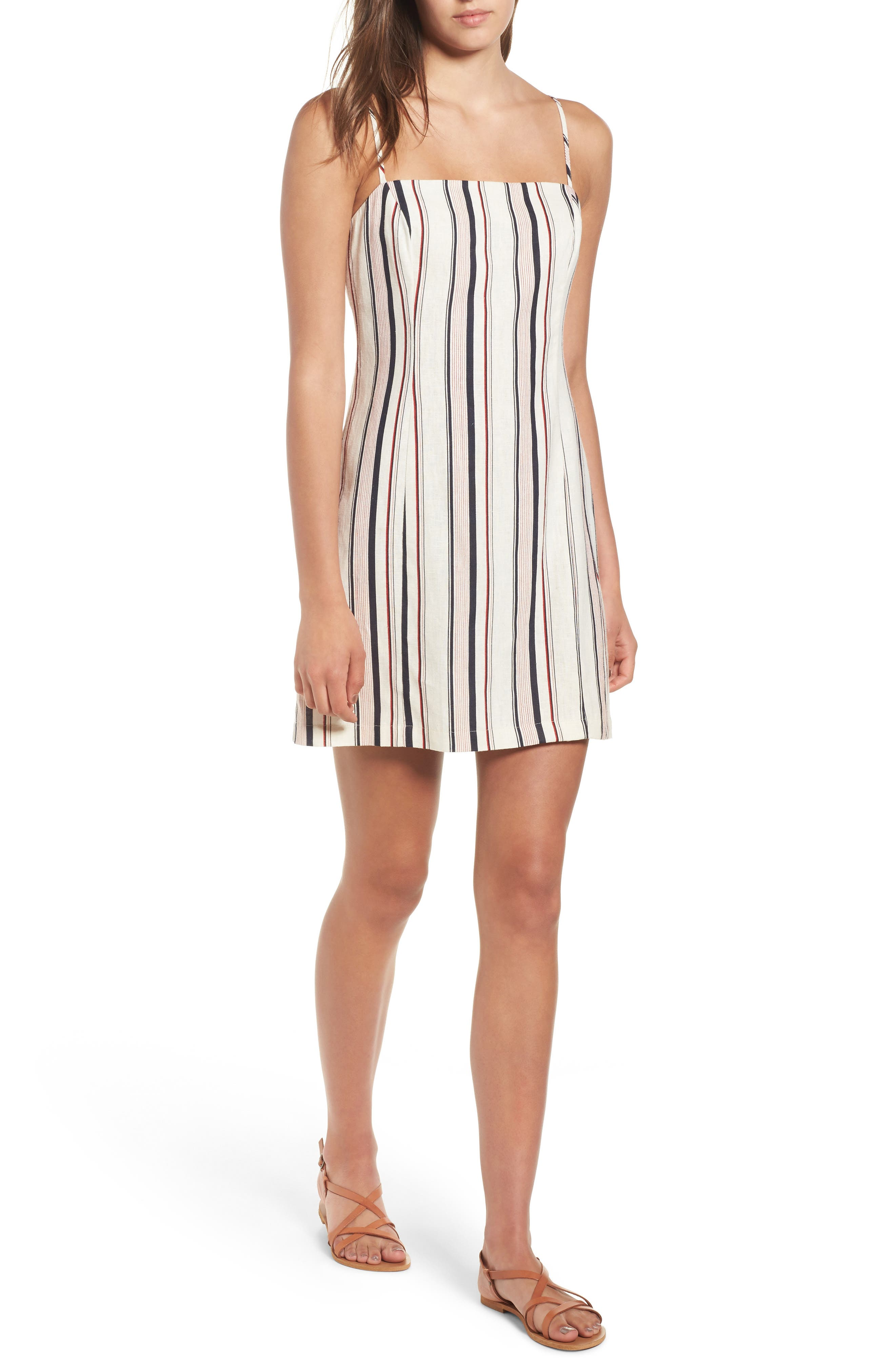 Striped Shift Dress,                             Main thumbnail 1, color,                             Navy Red Stripe