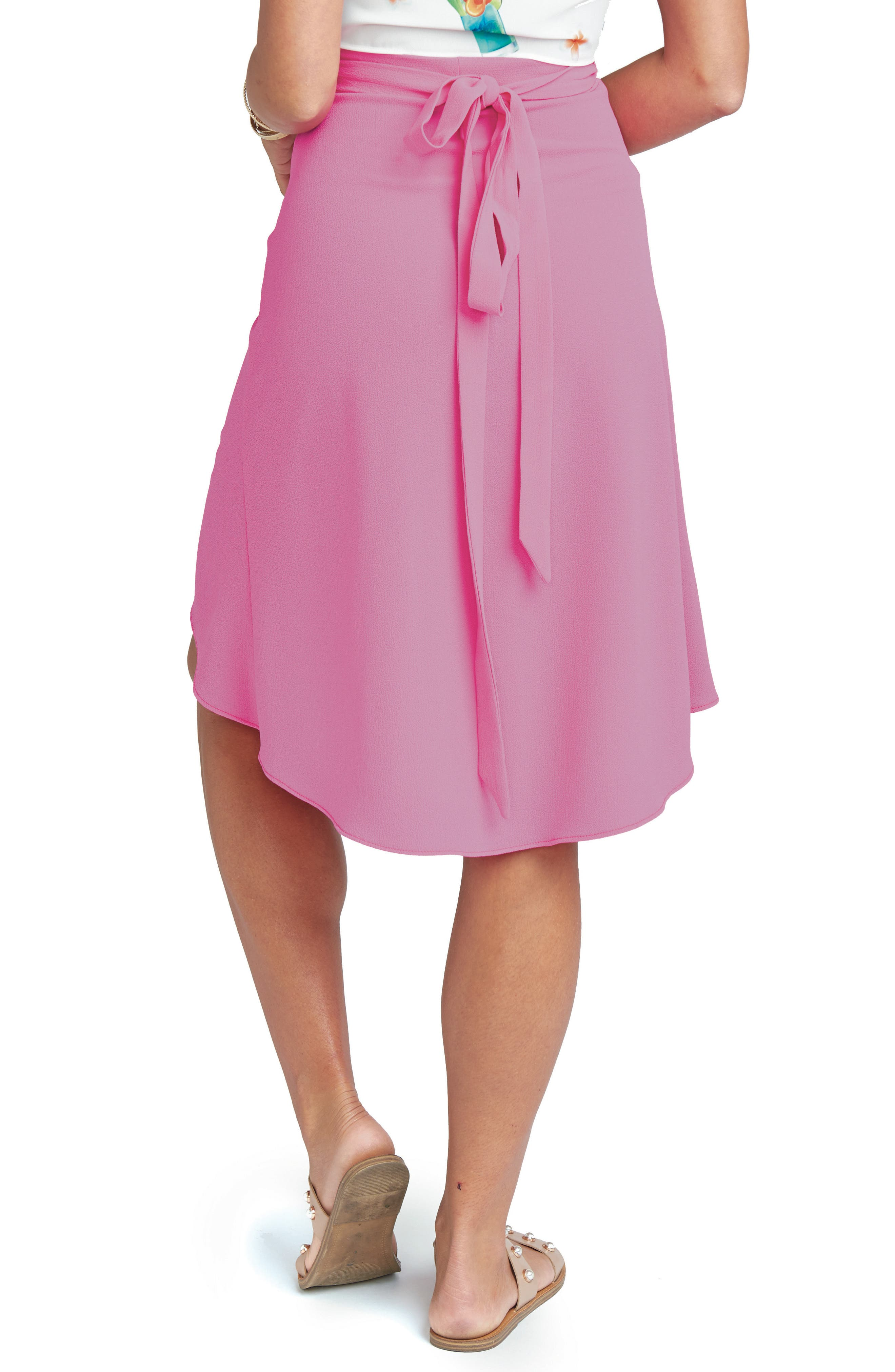 Panama Wrap Skirt,                             Alternate thumbnail 3, color,                             Hot Pink Crinkle Stretch