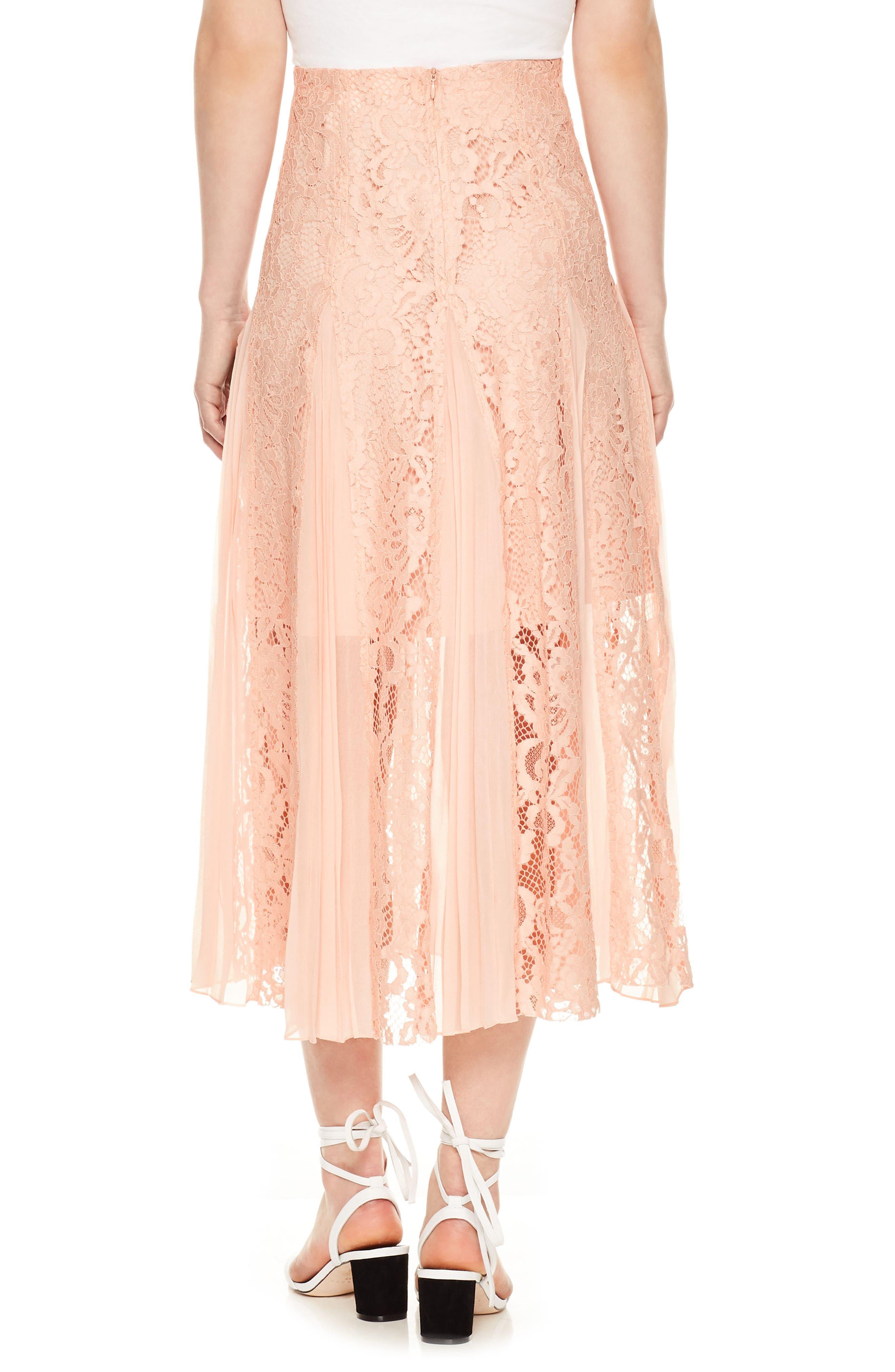 Lace Midi Skirt,                             Alternate thumbnail 2, color,                             Blush