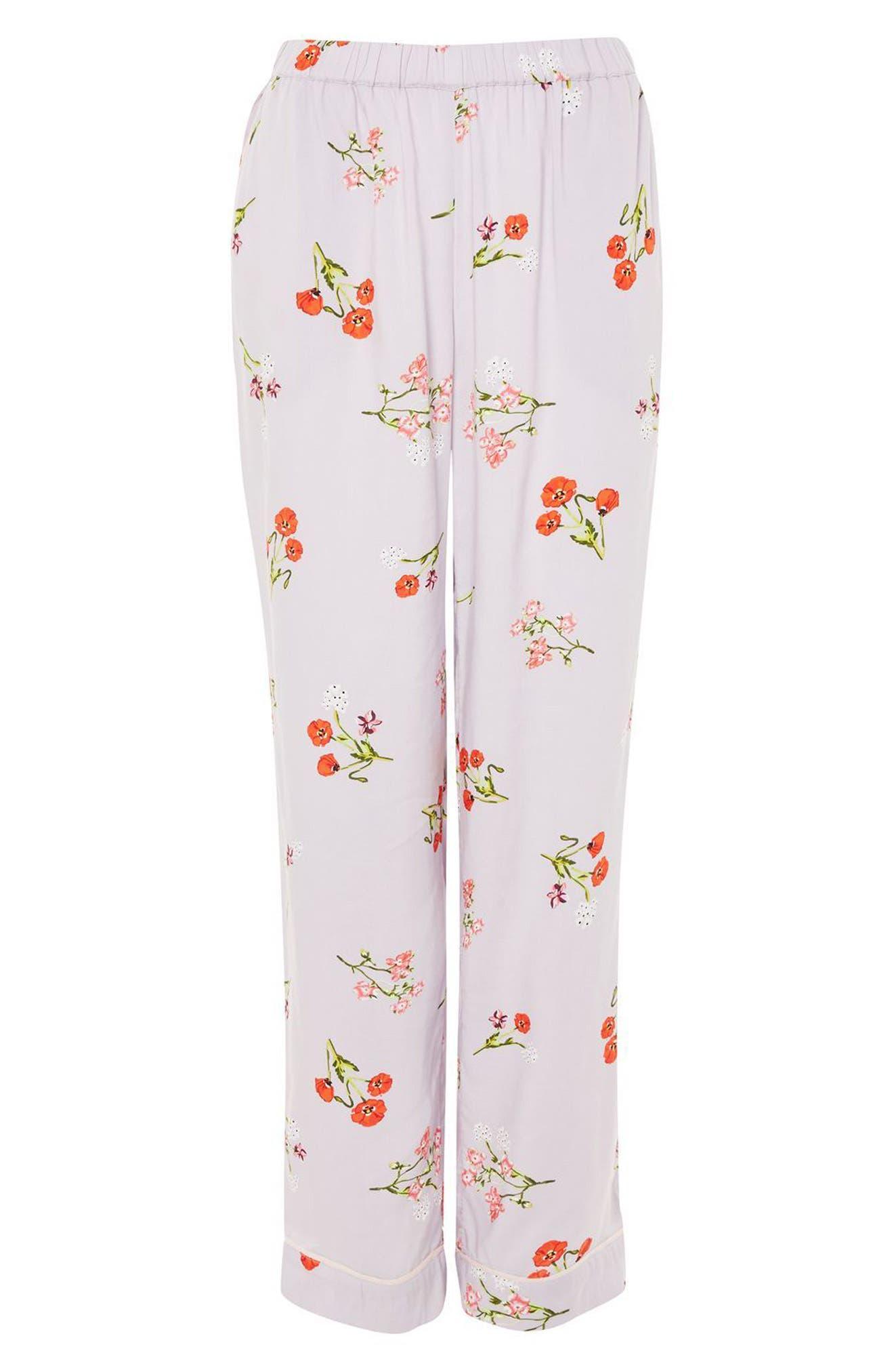 Poppy Print Pajama Pants,                             Alternate thumbnail 3, color,                             Light Blue Multi