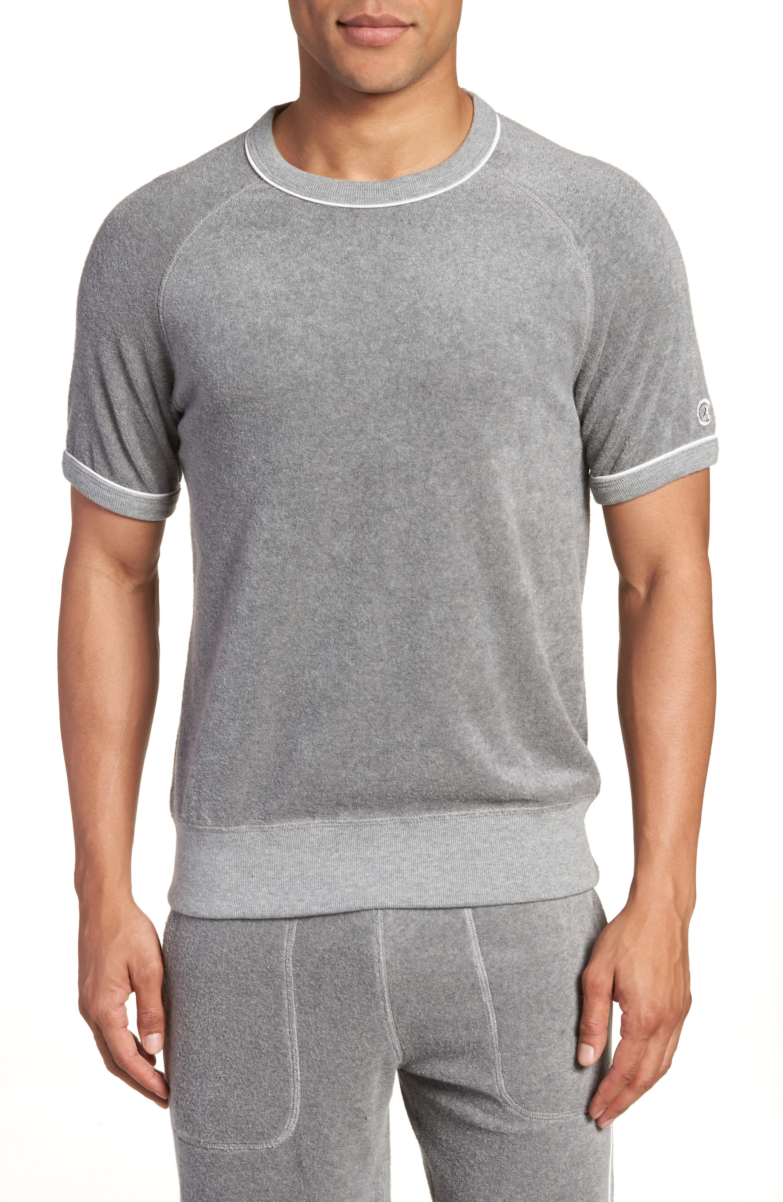 + Champion Short Sleeve Terry Sweatshirt,                             Main thumbnail 1, color,                             Grey