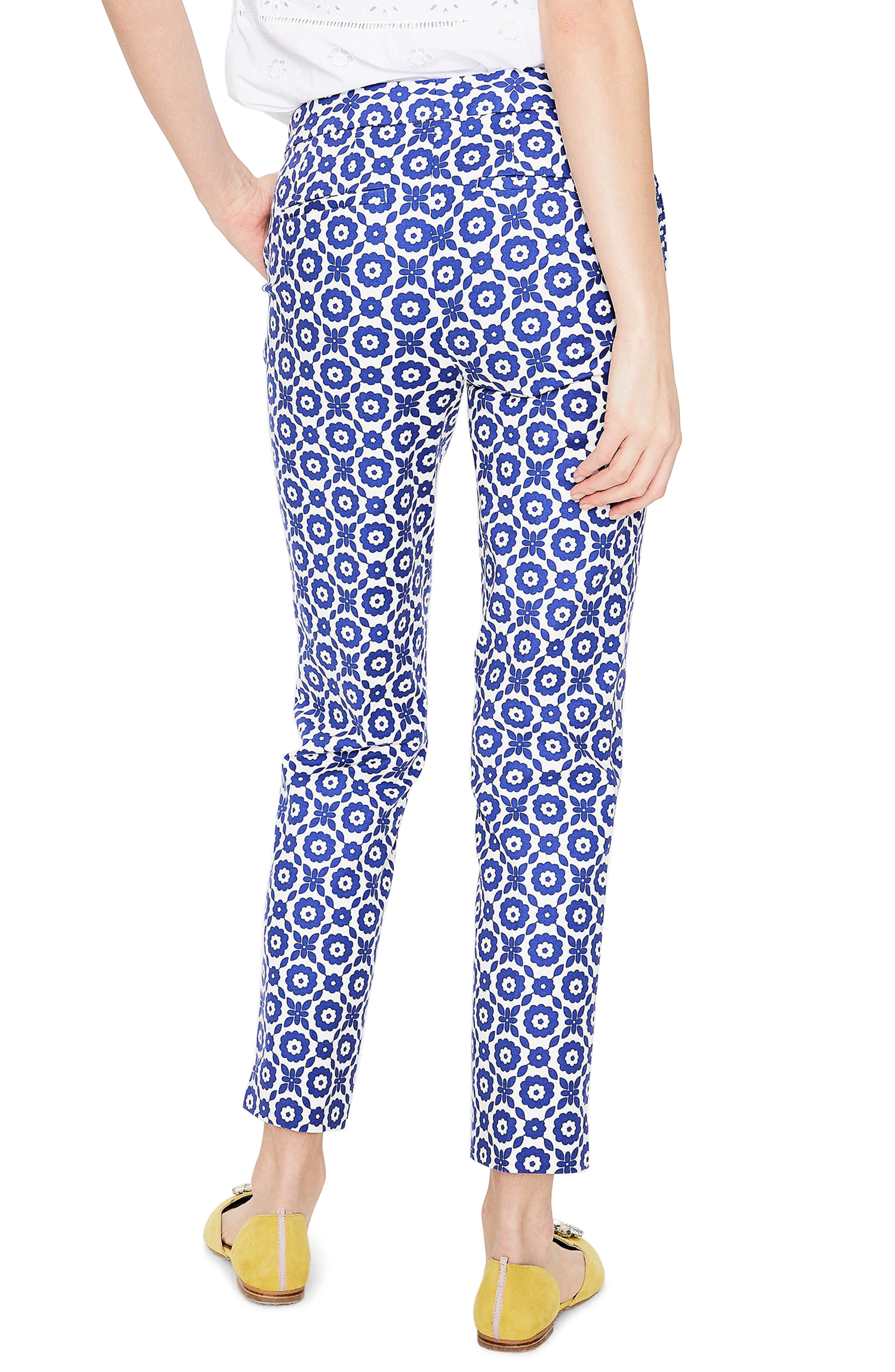 Richmond Polka Dot Stripe Contrast Ankle Pants,                             Alternate thumbnail 2, color,                             Greek Blue/ Daisy Chain