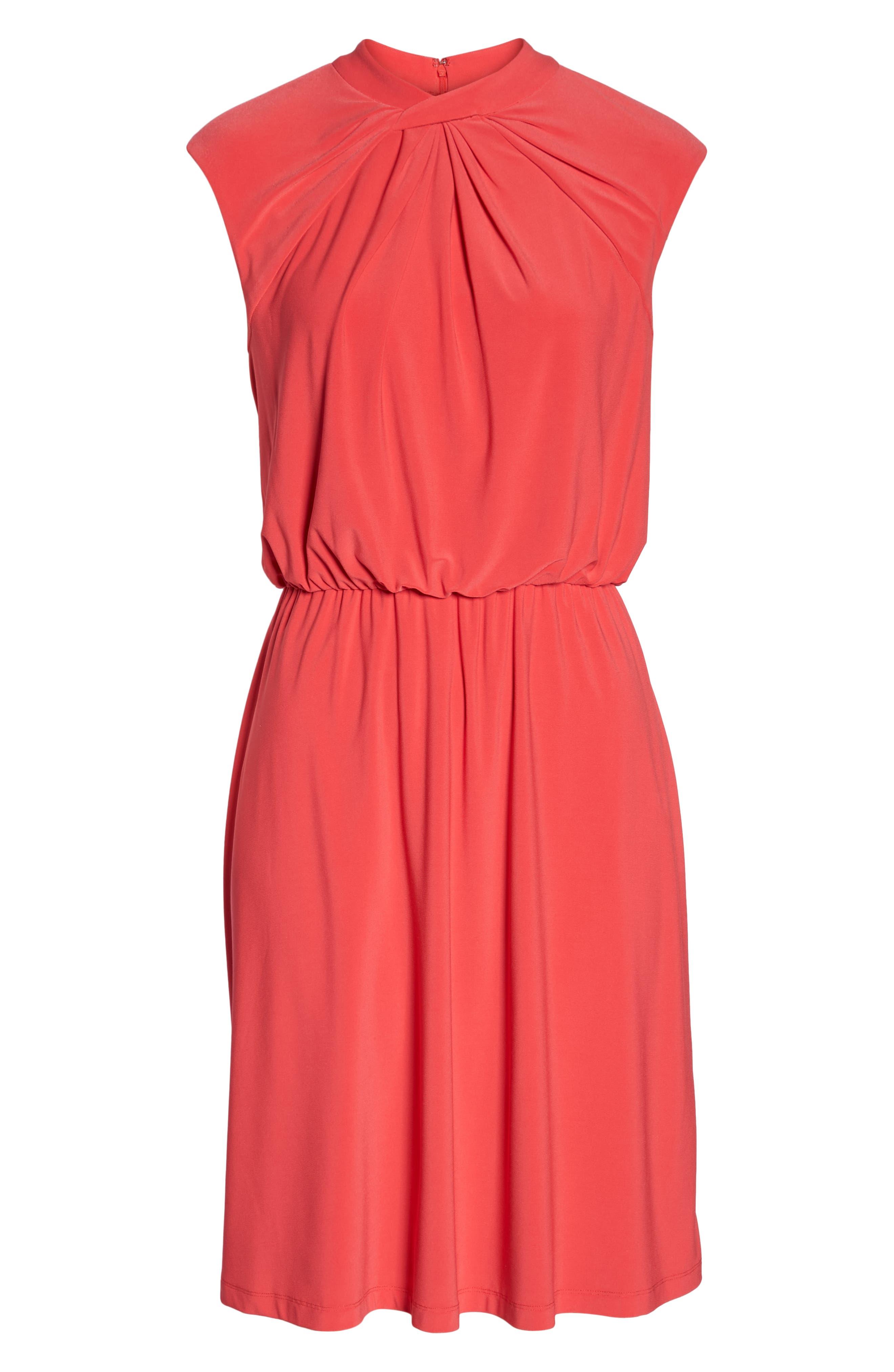Twist Neck Jersey Blouson Dress,                             Alternate thumbnail 7, color,                             Geranium