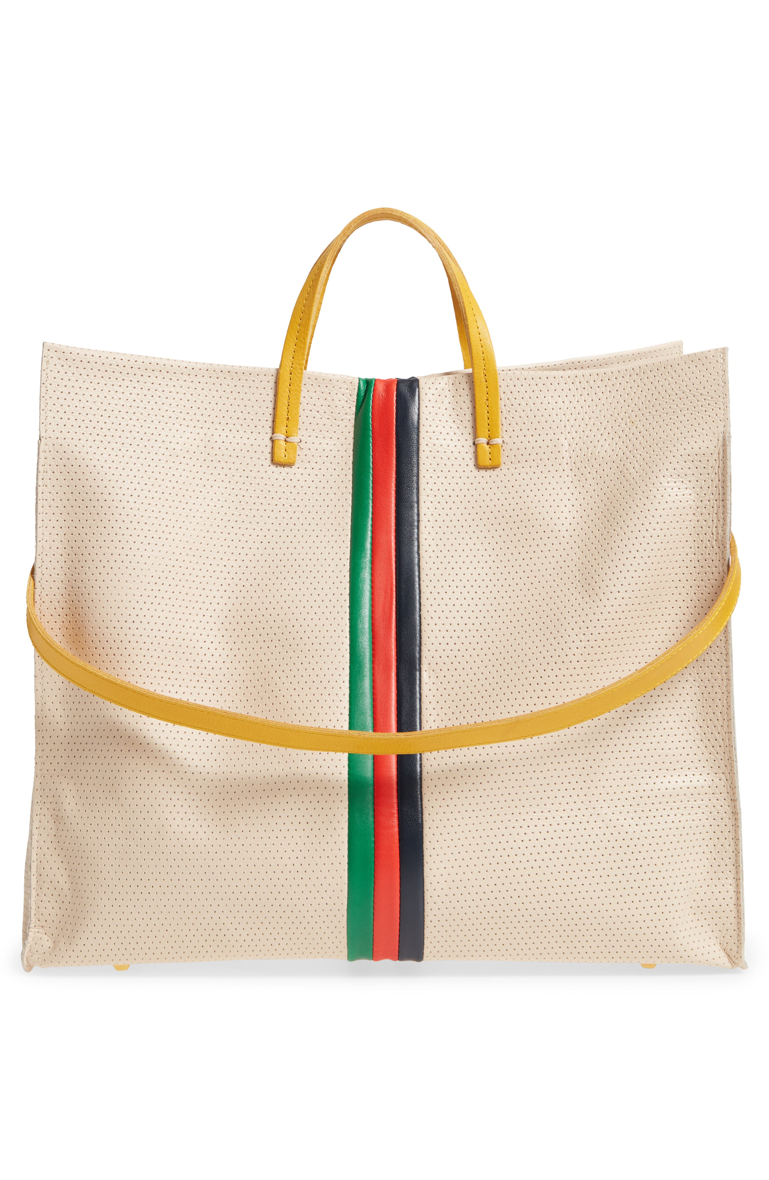 Alternate Image 3  - Clare V. Simple Stripe Perforated Leather Tote