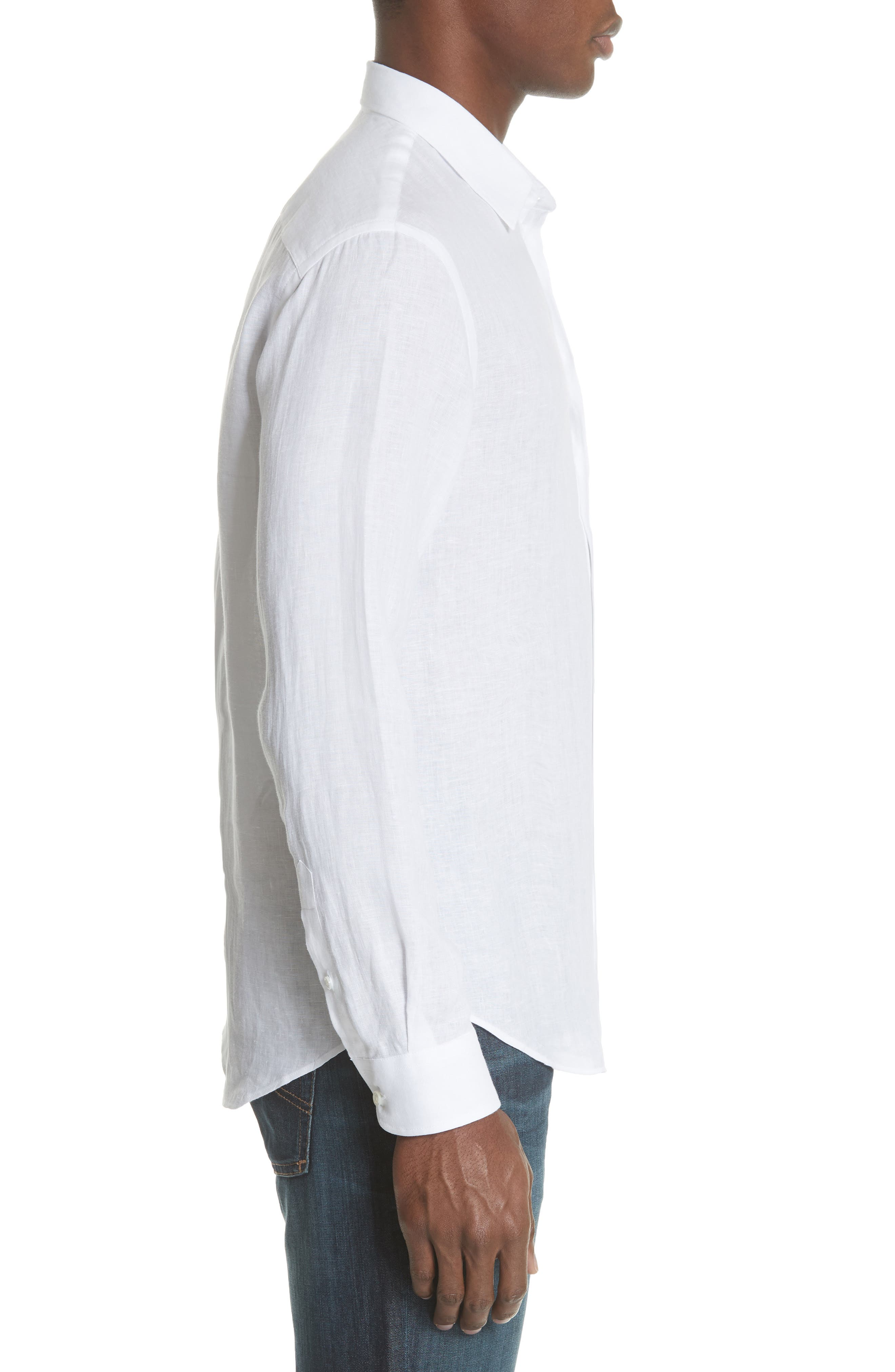 Regular Fit Linen Dress Shirt,                             Alternate thumbnail 4, color,                             White