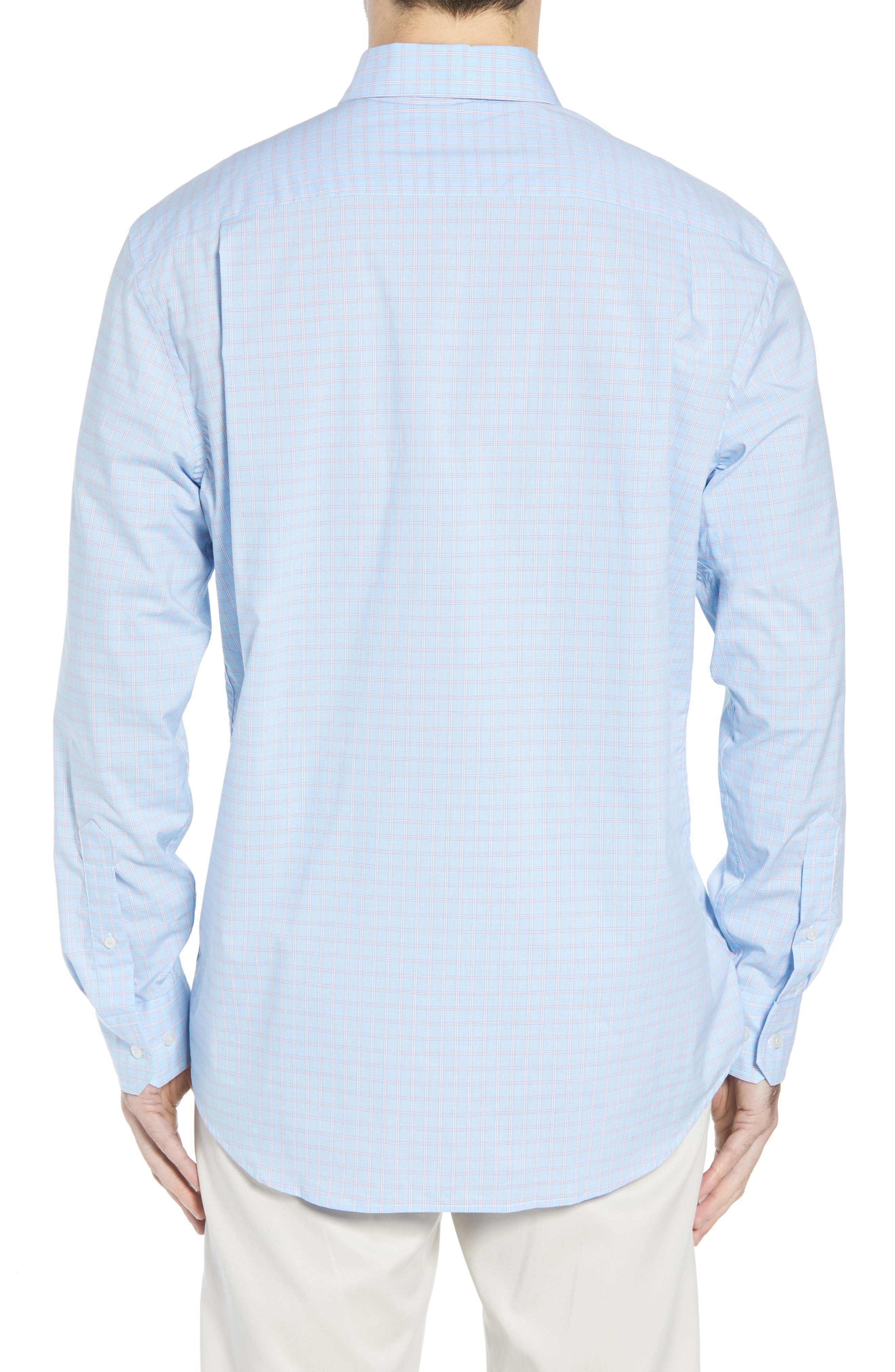 Buck Island Regular Fit Stretch Check Sport Shirt,                             Alternate thumbnail 3, color,                             Blue Stream