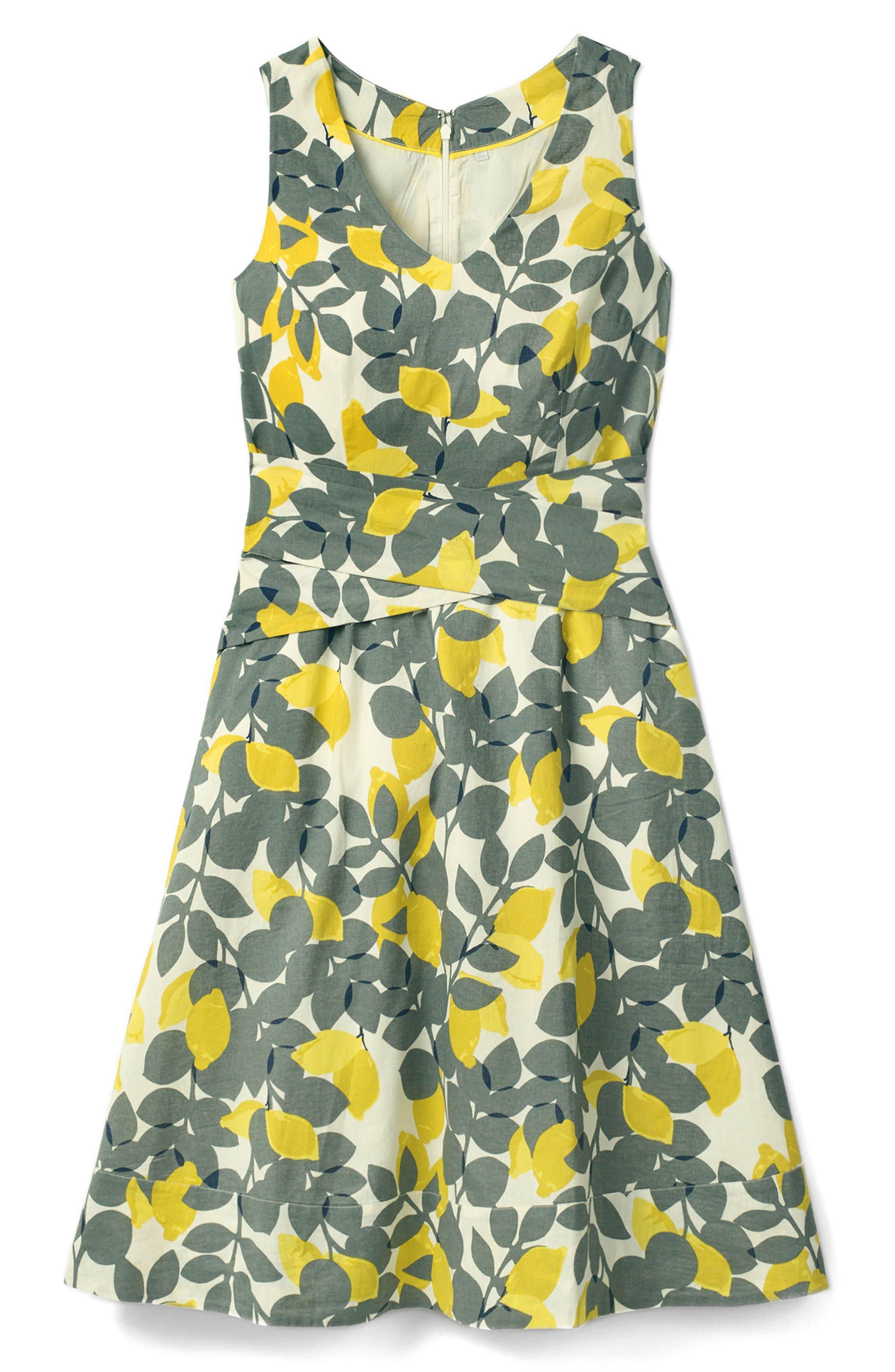 Jade Fit & Flare Linen Cotton Dress,                             Alternate thumbnail 7, color,                             Dark Sage Lemons