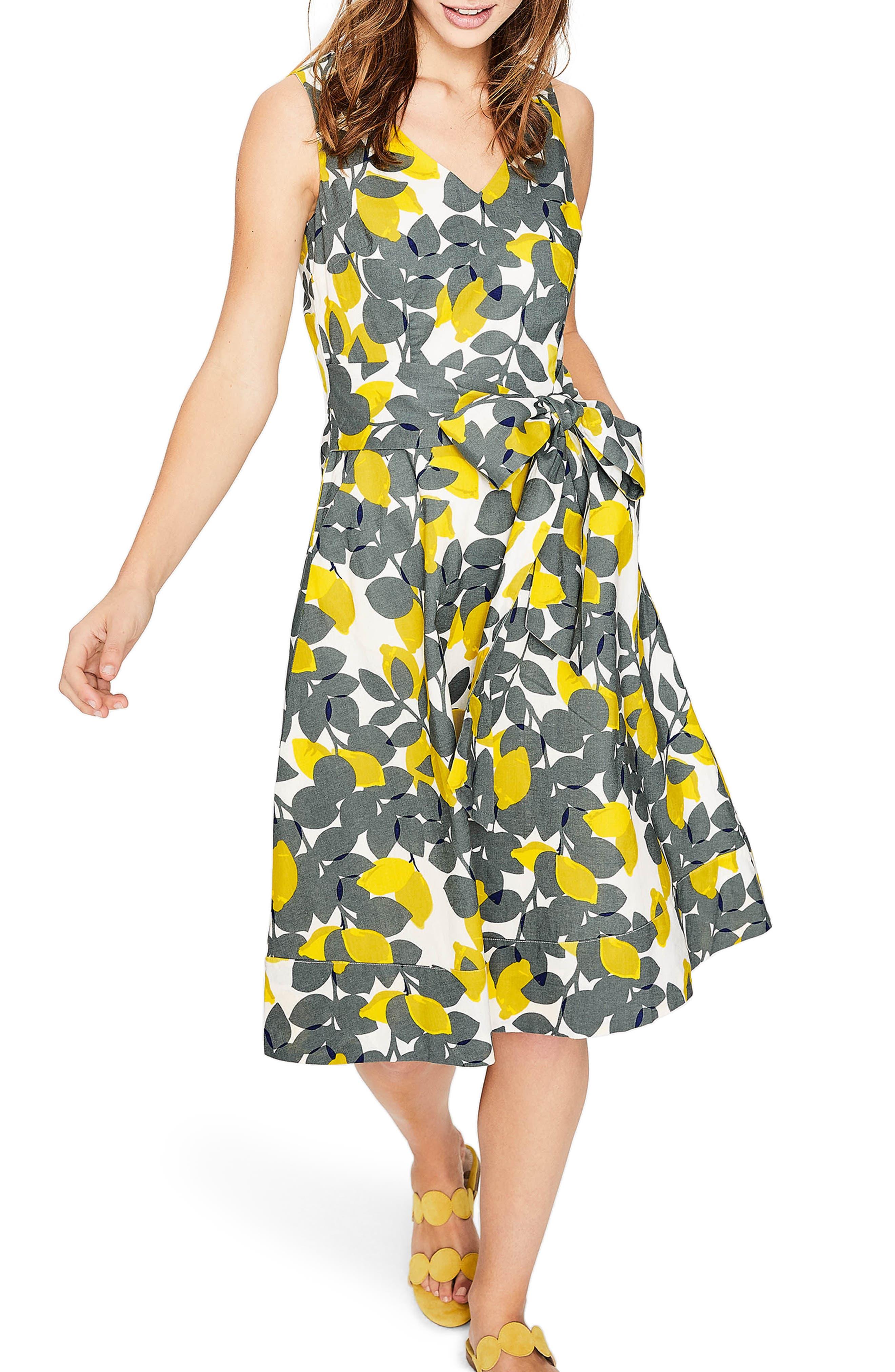 Jade Fit & Flare Linen Cotton Dress,                             Main thumbnail 1, color,                             Dark Sage Lemons