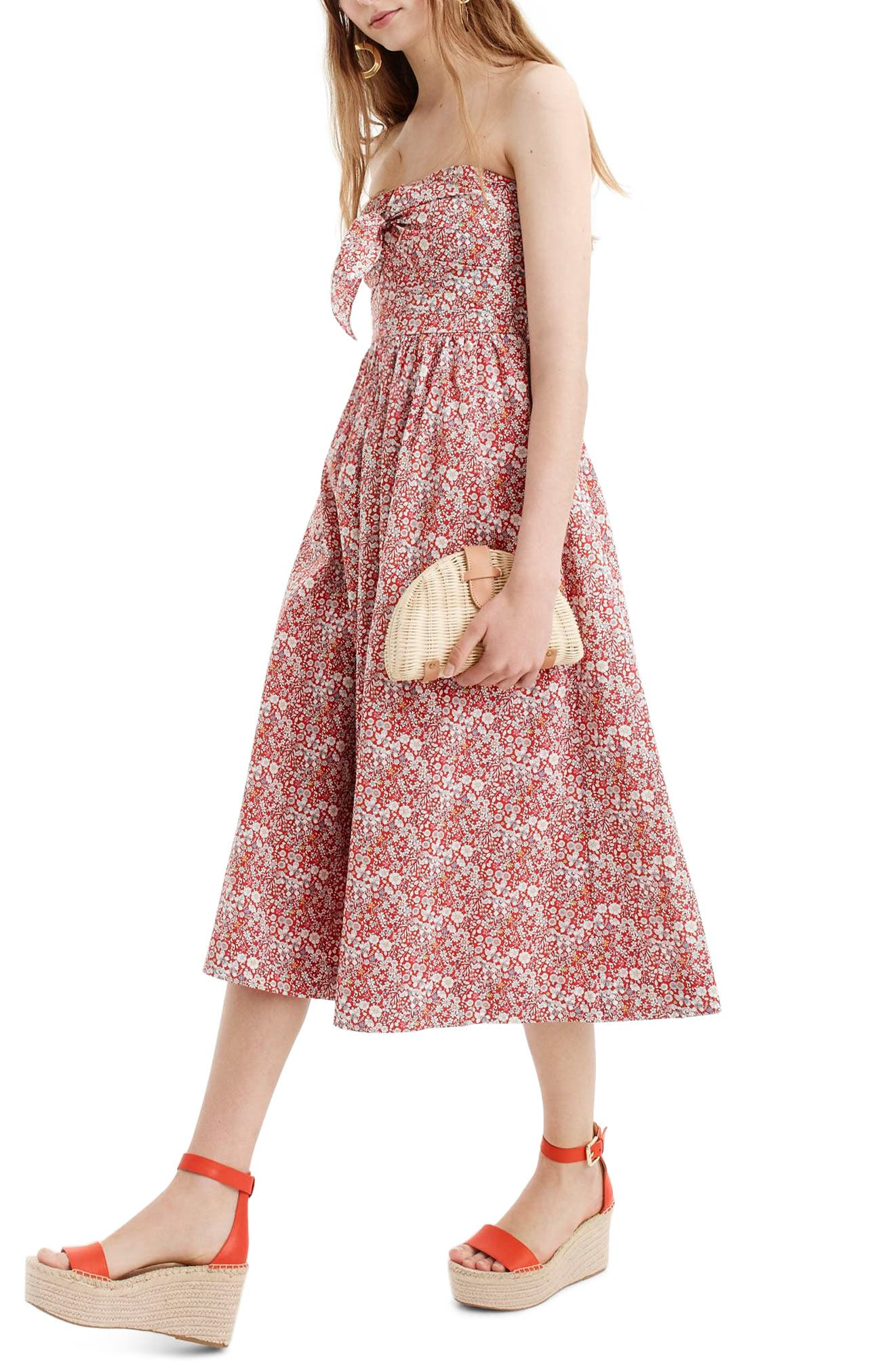 Liberty Tie Front Strapless Dress,                             Main thumbnail 1, color,                             Cherry Multi