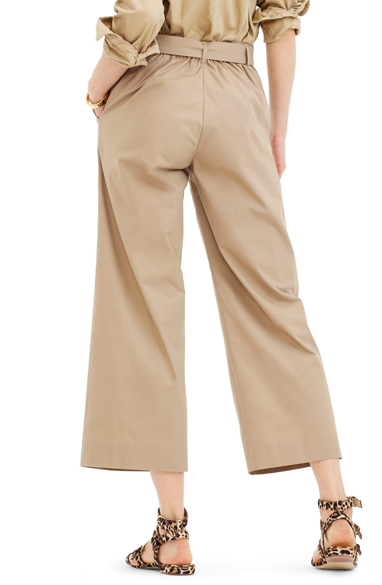 Wide Leg Stretch Cotton Poplin Crop Pants,                             Alternate thumbnail 2, color,                             Dusty Khaki