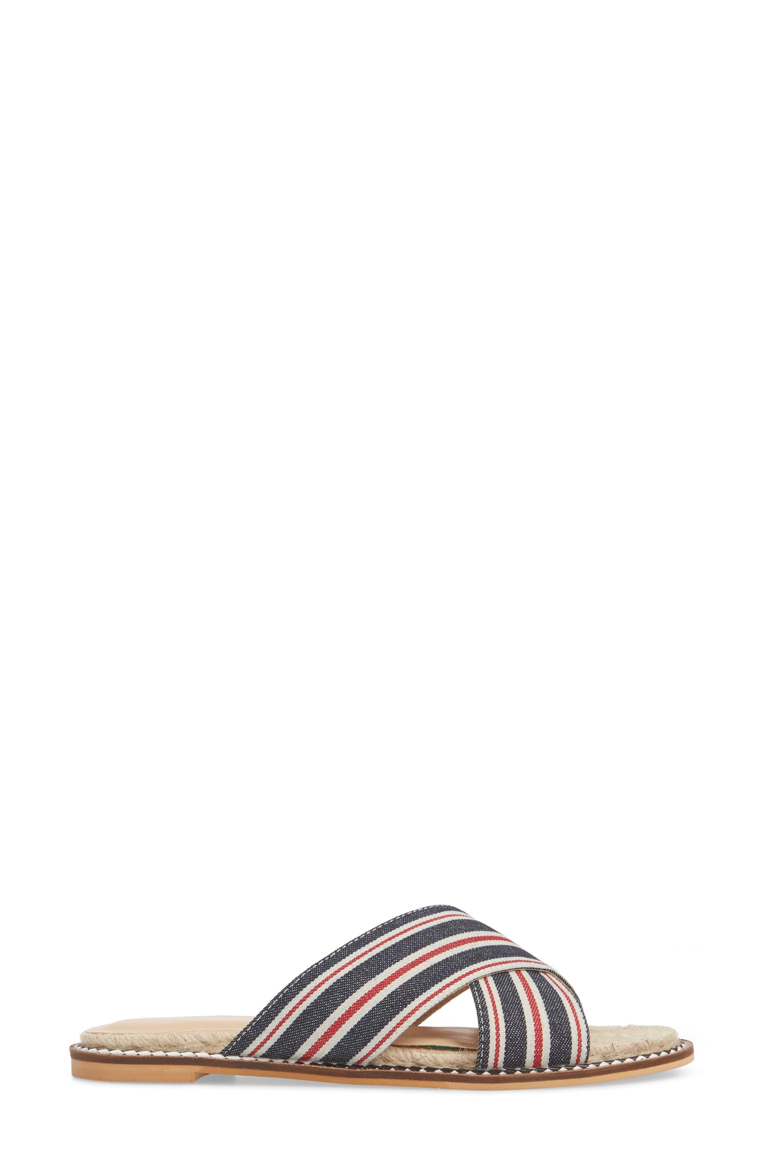 Hibiscus Slide Sandal,                             Alternate thumbnail 3, color,                             Navy Blue Multi