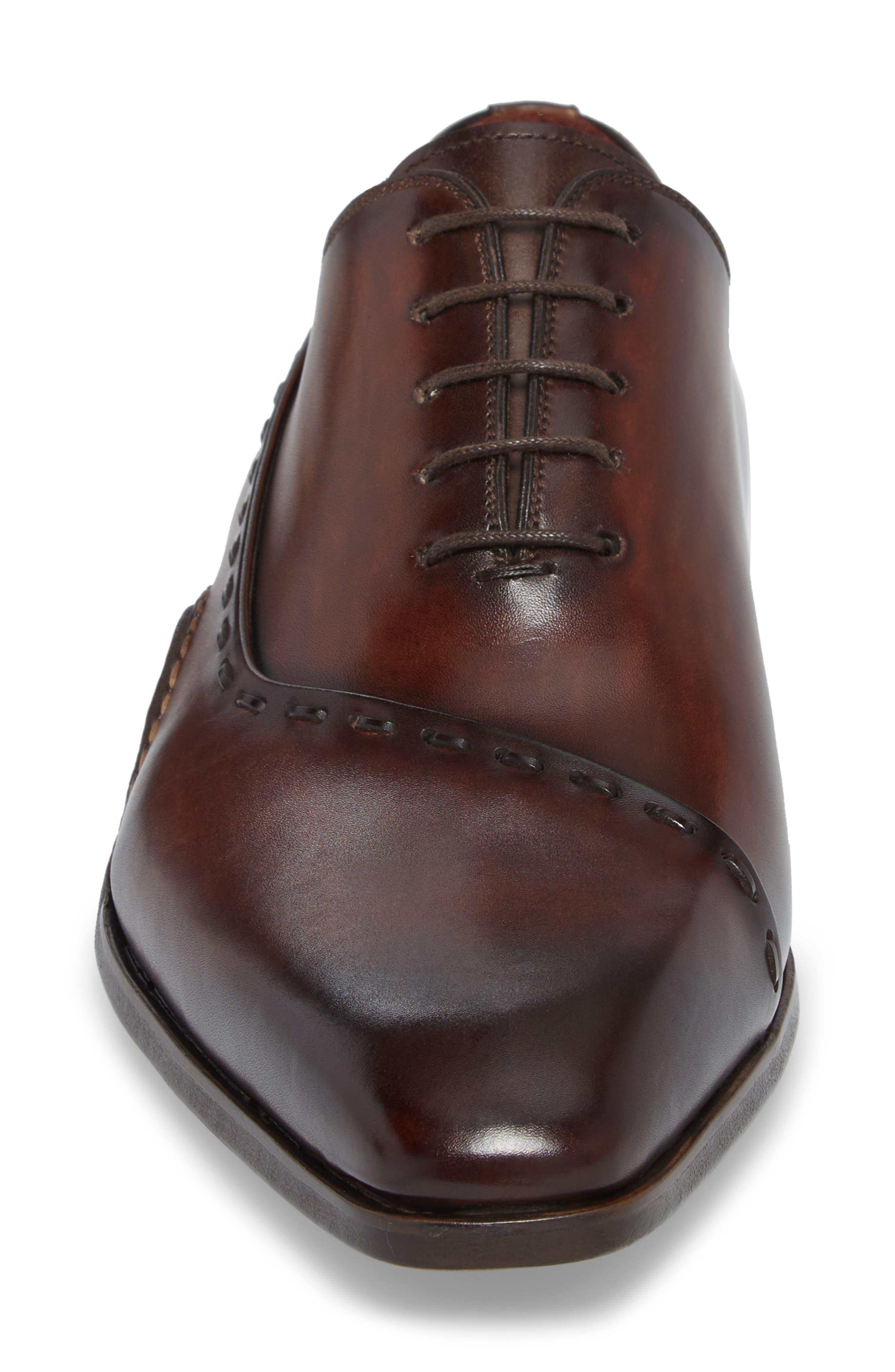 Kobe Asymmetrical Whole Cut Shoe,                             Alternate thumbnail 4, color,                             Mid-Brown Leather