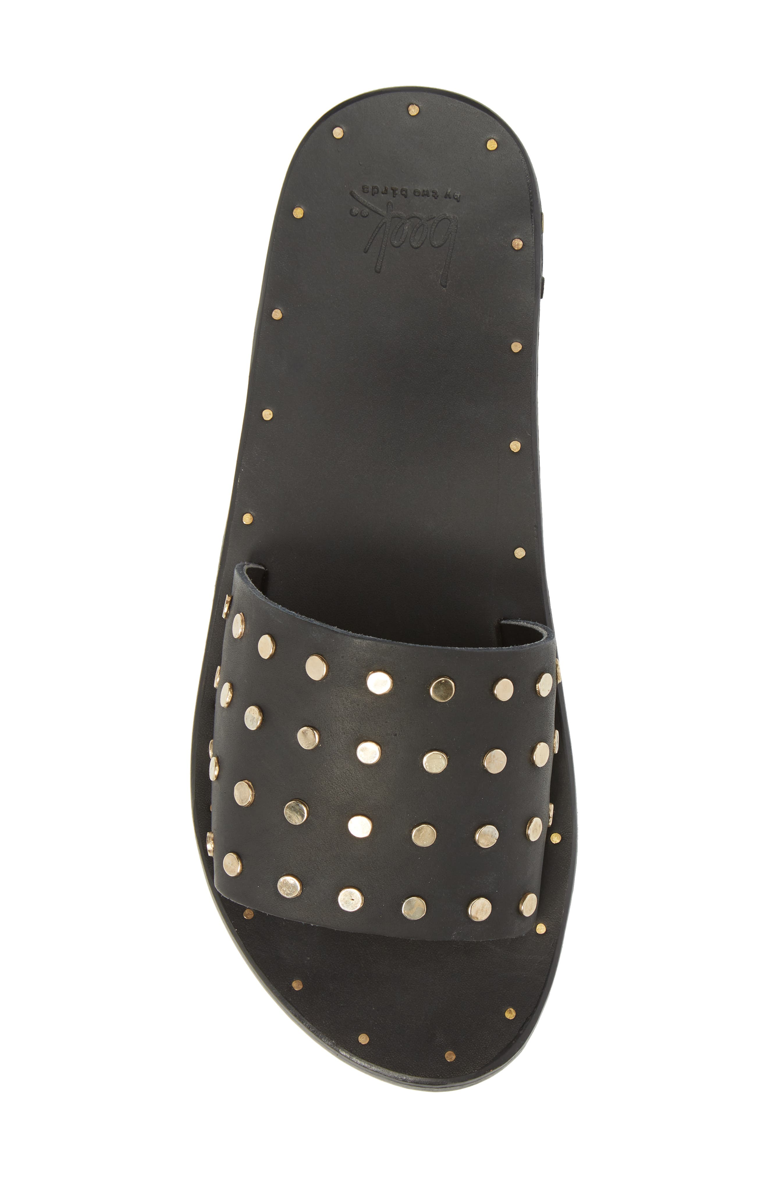 Lovebird Studded Slide Sandal,                             Alternate thumbnail 5, color,                             Black/ Black